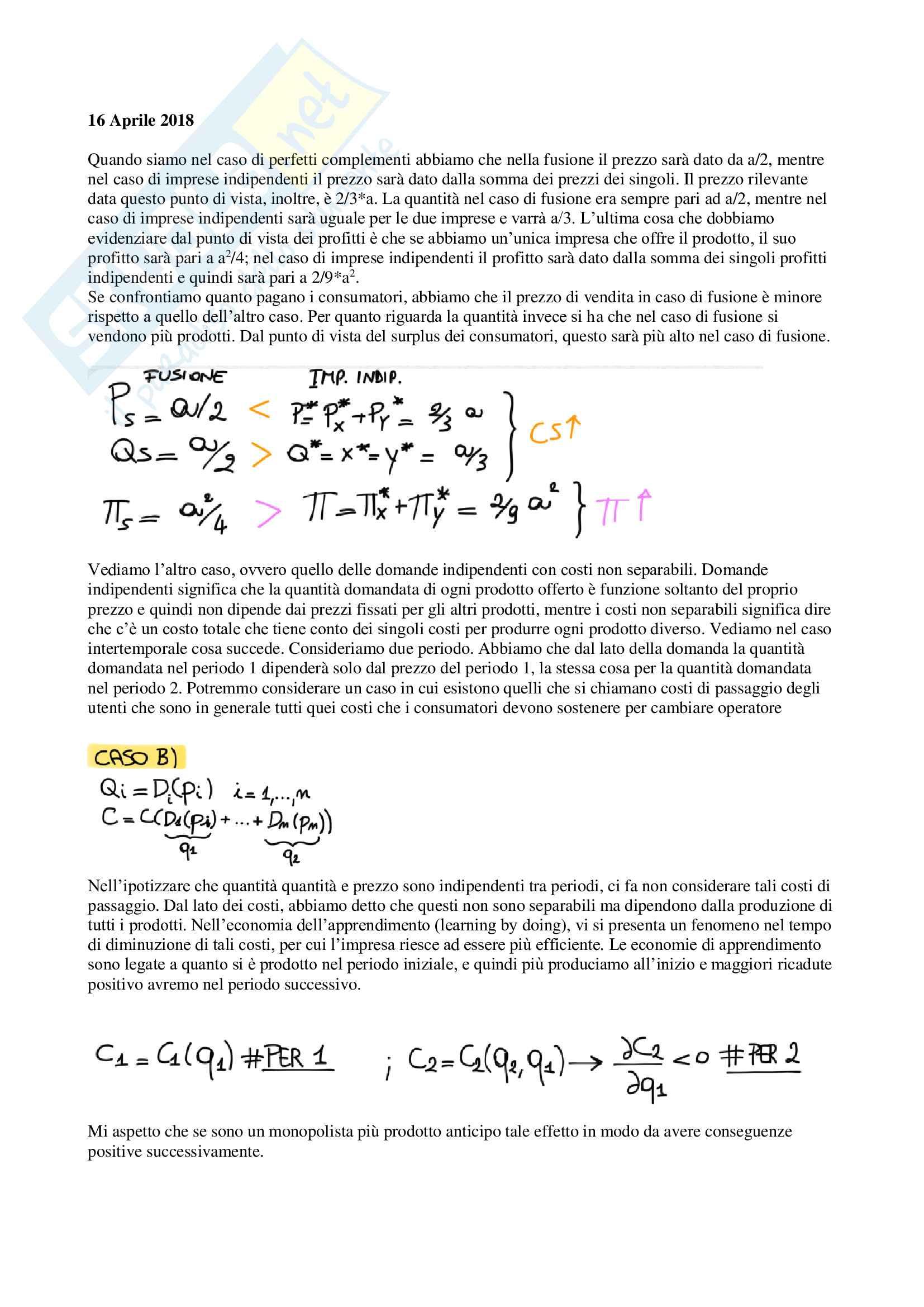 Appunti di Economia dei sistemi industriali, prof. Reverberi e Nastasi Pag. 41
