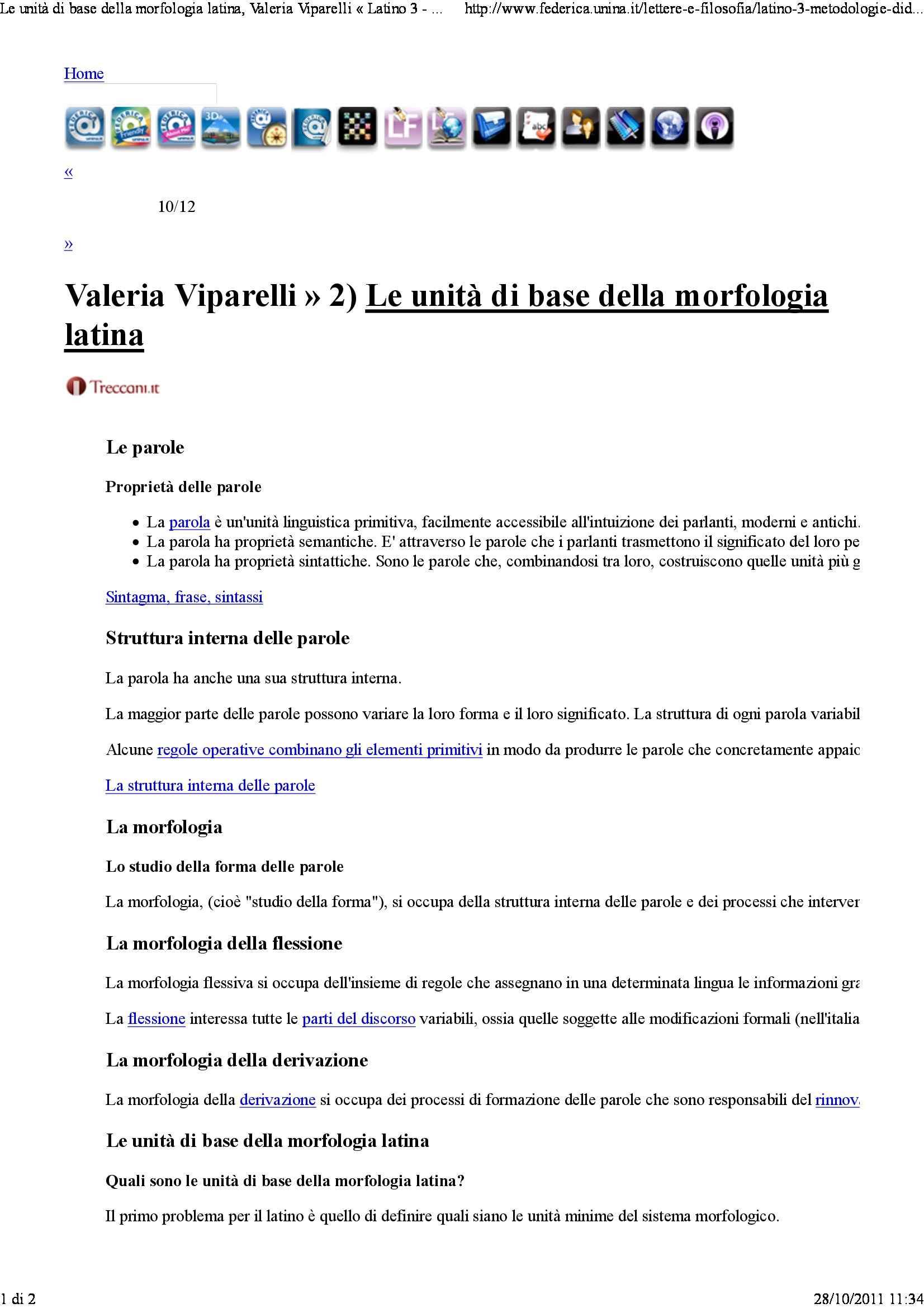Unità di base della morfologia latina