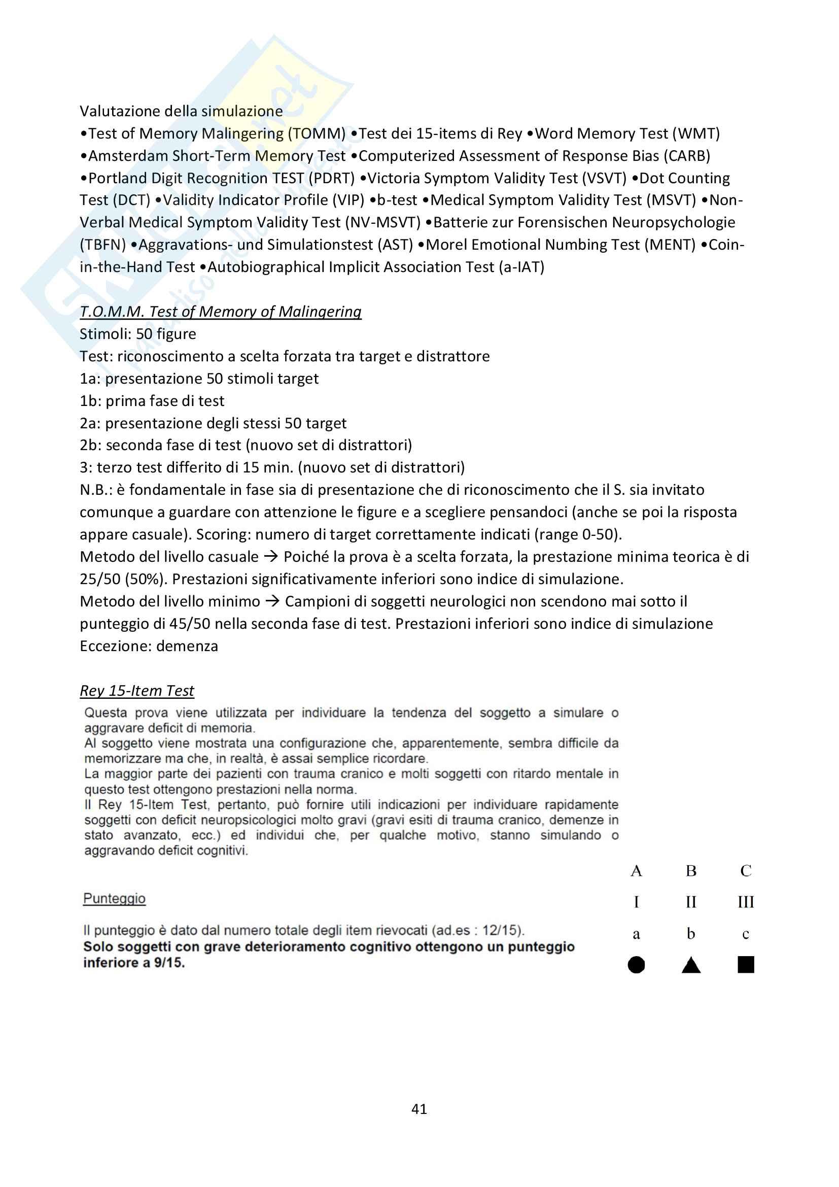 Neuropsicologia clinica e forense Parte 2 - Docente Bottini Pag. 41