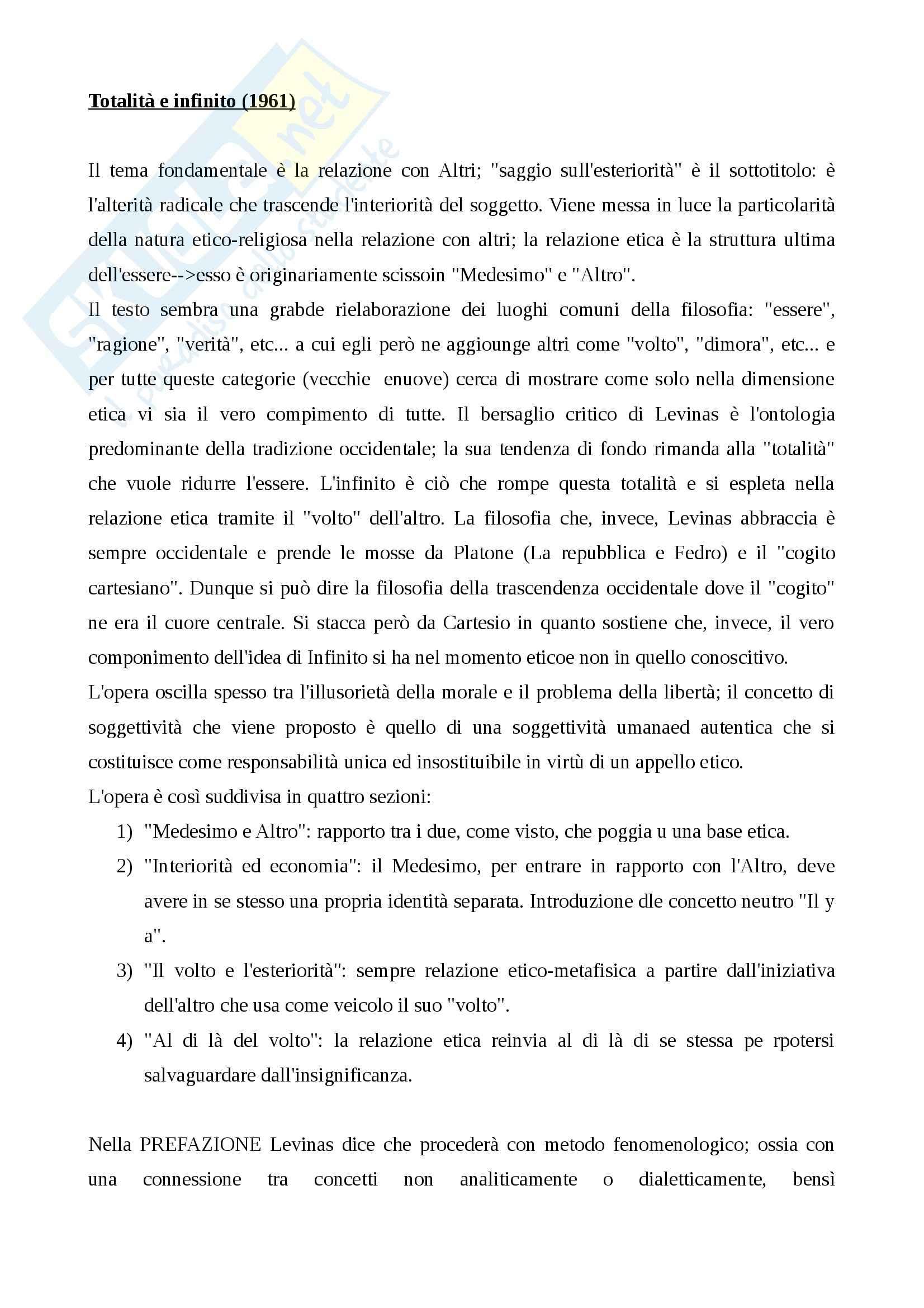 """Riassunto esame filosofia teoretica, prof. Ciancio, libro consigliato """"Totalità e infinito"""" 1961"""