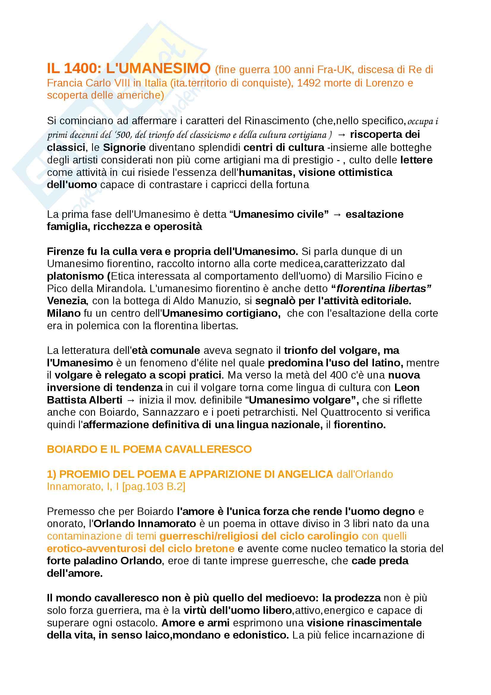 Riassunti Letteratura Italiana dal 1400 al 1500, libro consigliato 2° Baldi , con analisi dei testi, introduzione agli autori e opere, contesti storici, prof. Oliva
