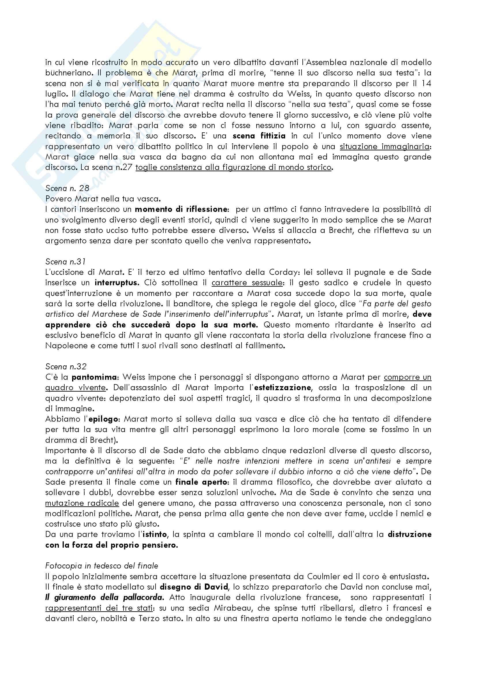 """Riassunto esame Letteratura Tedesca del docente Giovanna Cermelli, libro consigliato """"Marat Sade"""" di Peter Weiss Pag. 11"""
