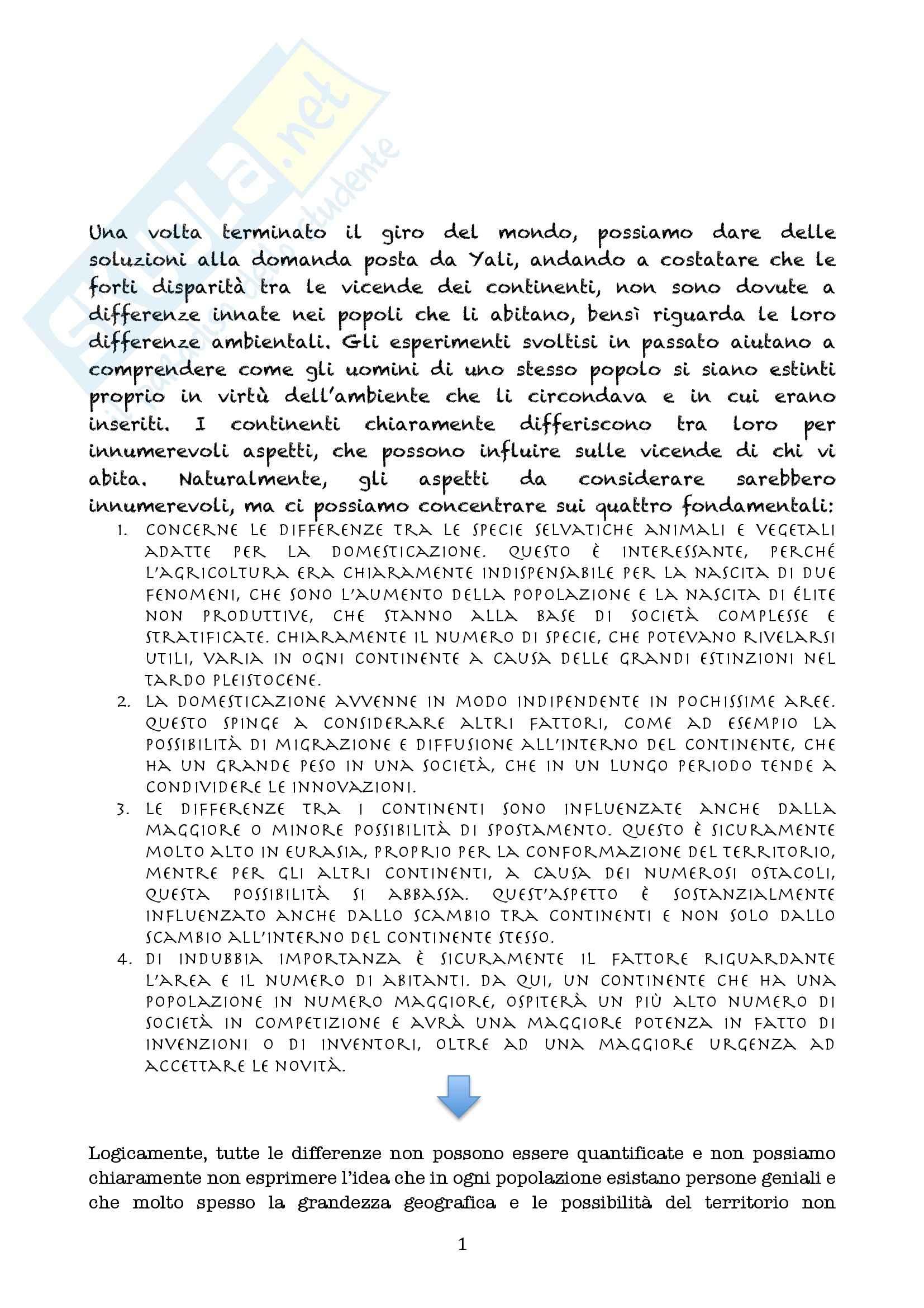 Riassunto esame Linguistica generale, prof. Longobardi, libro consigliato Armi, acciaio e malattie, Diamond (Epilogo)