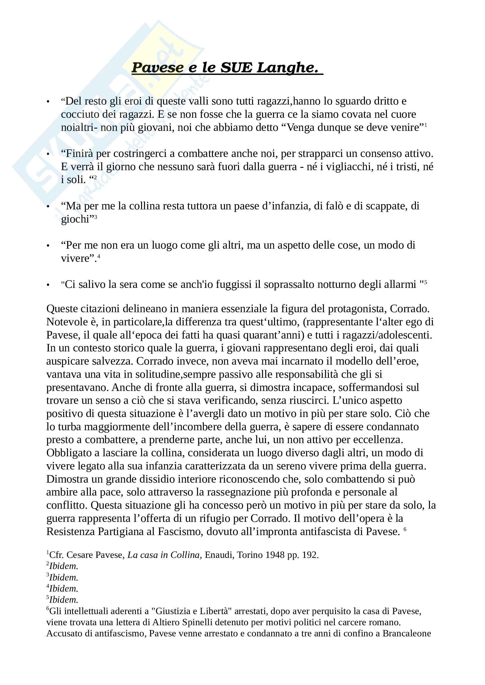 Tesina Cesare Pavese: La casa in collina. Letteratura Italiana - Fabio Pierangeli