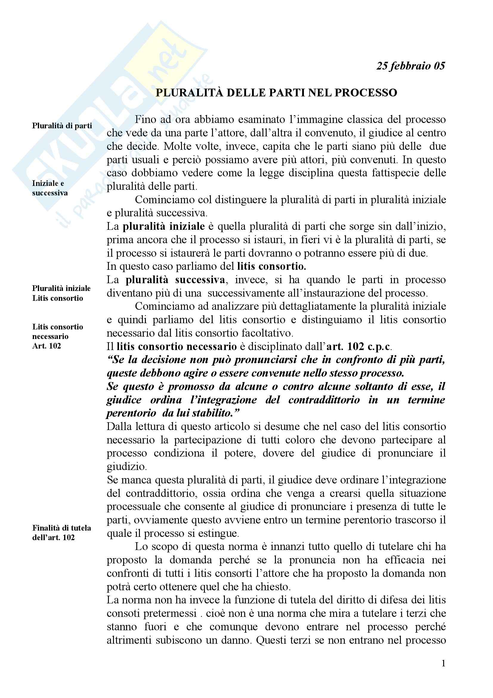 Diritto processuale civile - pluralità delle parti nel processo