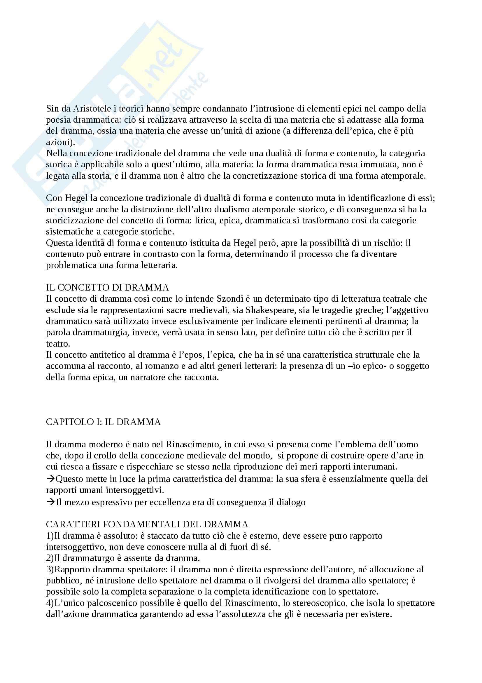 Riassunto esame Drammaturgia, prof. Guccini, libro consigliato Teoria del Dramma Moderno, Szondi