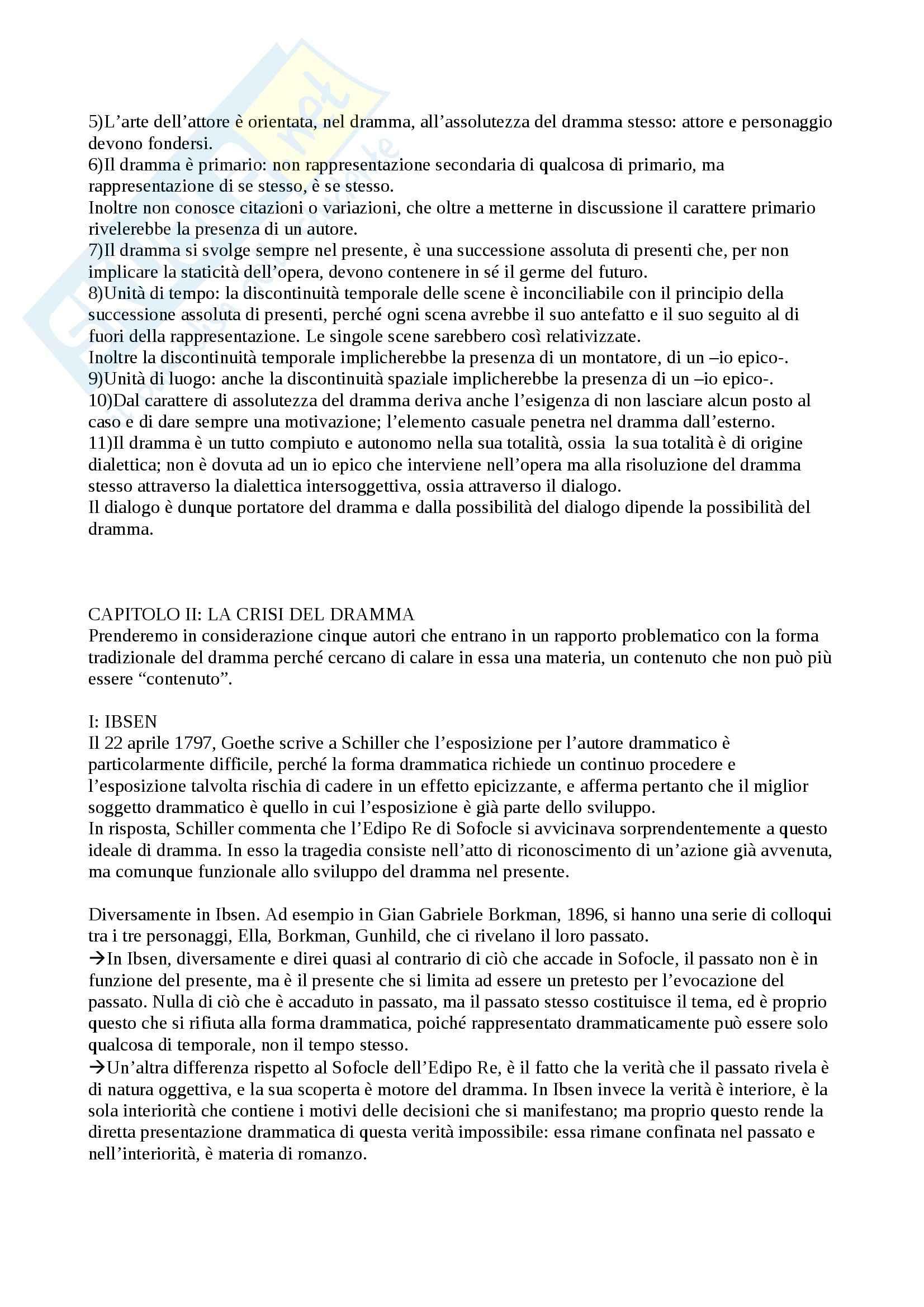 Riassunto esame Drammaturgia, prof. Guccini, libro consigliato Teoria del Dramma Moderno, Szondi Pag. 2