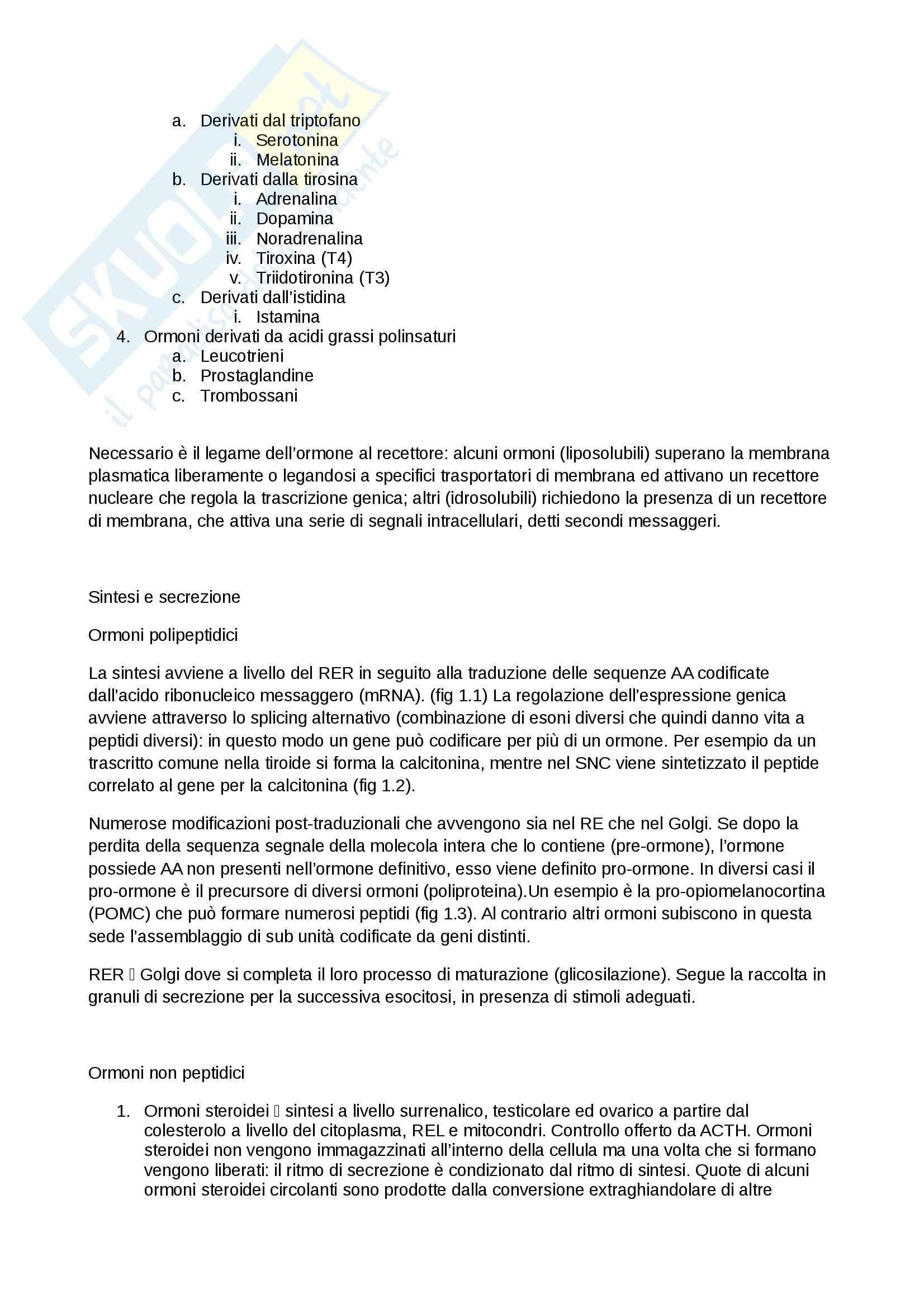 Riassunto esame Endocrinologia, prof. Arosio, libro consigliato Principi di medicina interna, Harrison Pag. 2