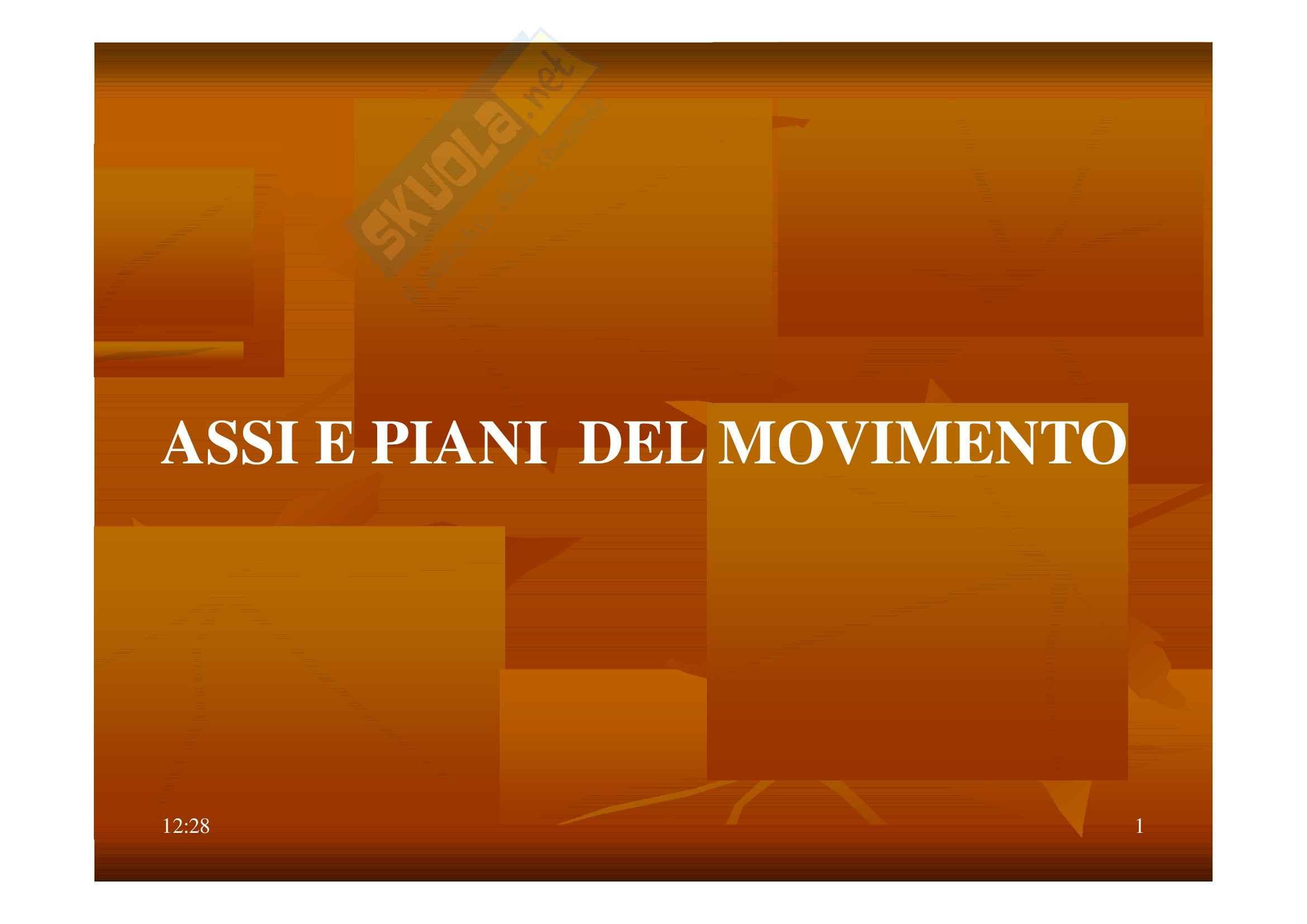 Teoria metodologia e didattica del movimento umano - Assi e piani del movimento