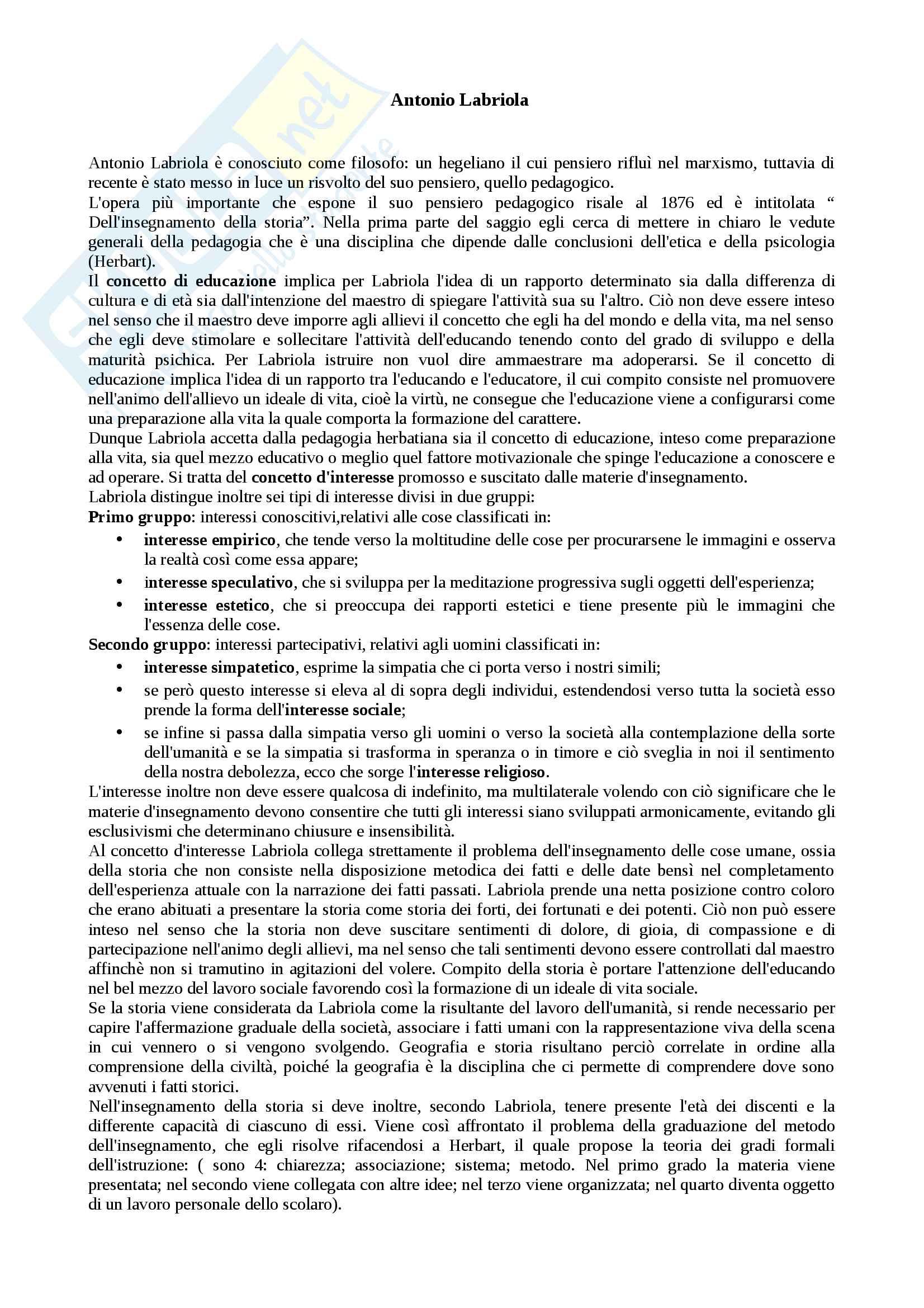 Riassunto esame storia della pedagogia, prof Salvatore Agresta, libri consigliato la pedagogia di Antonio Labriola