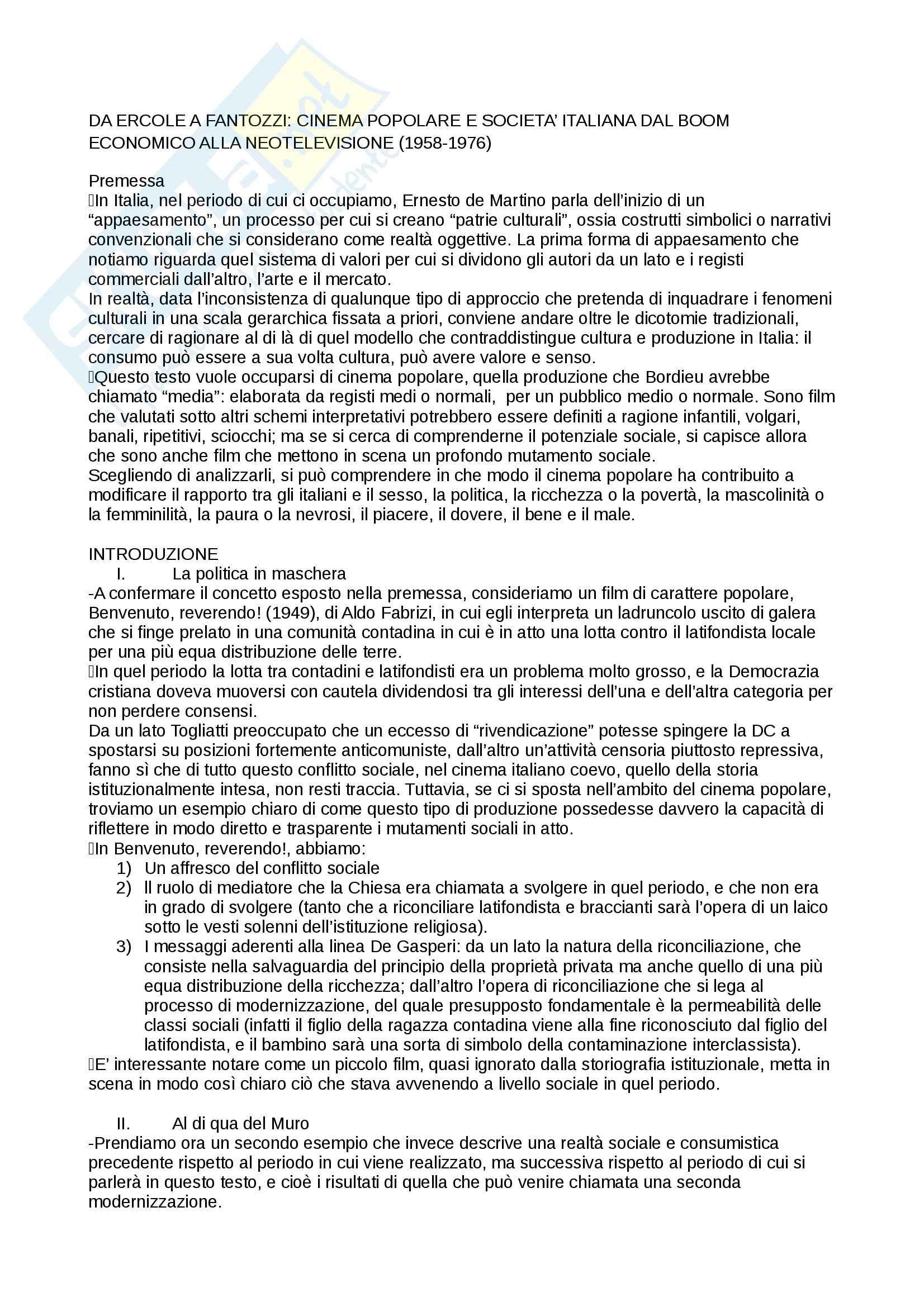 Riassunto esame storia del cinema italiano, prof. Manzoli, libro consigliato Da Ercole a Fantozzi, Cinema popolare e società italiana dal boom economico alla neotelevisione (1958-1976), Manzoli