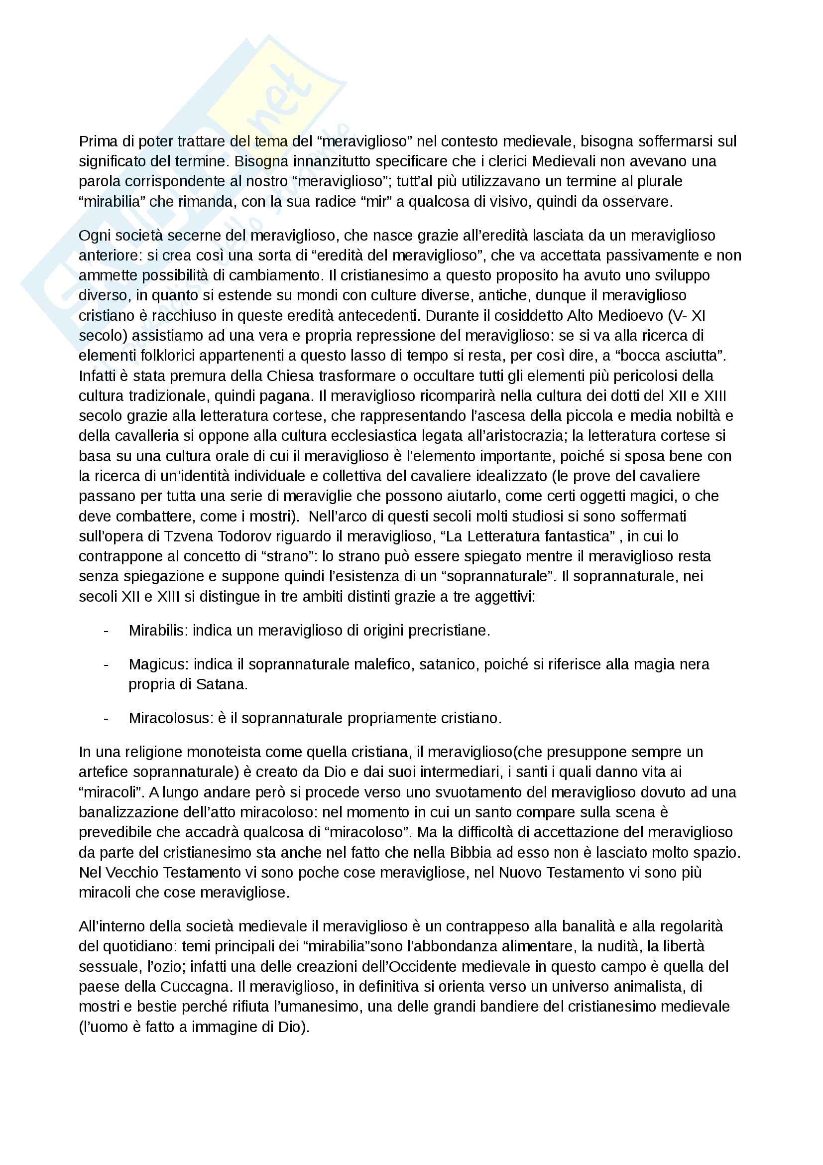 Riassunto esame Antichità e Istituzioni medievali, prof. Capo, libro consigliato Il meraviglioso e il quotidiano nell Occidente medievale, Le Goff