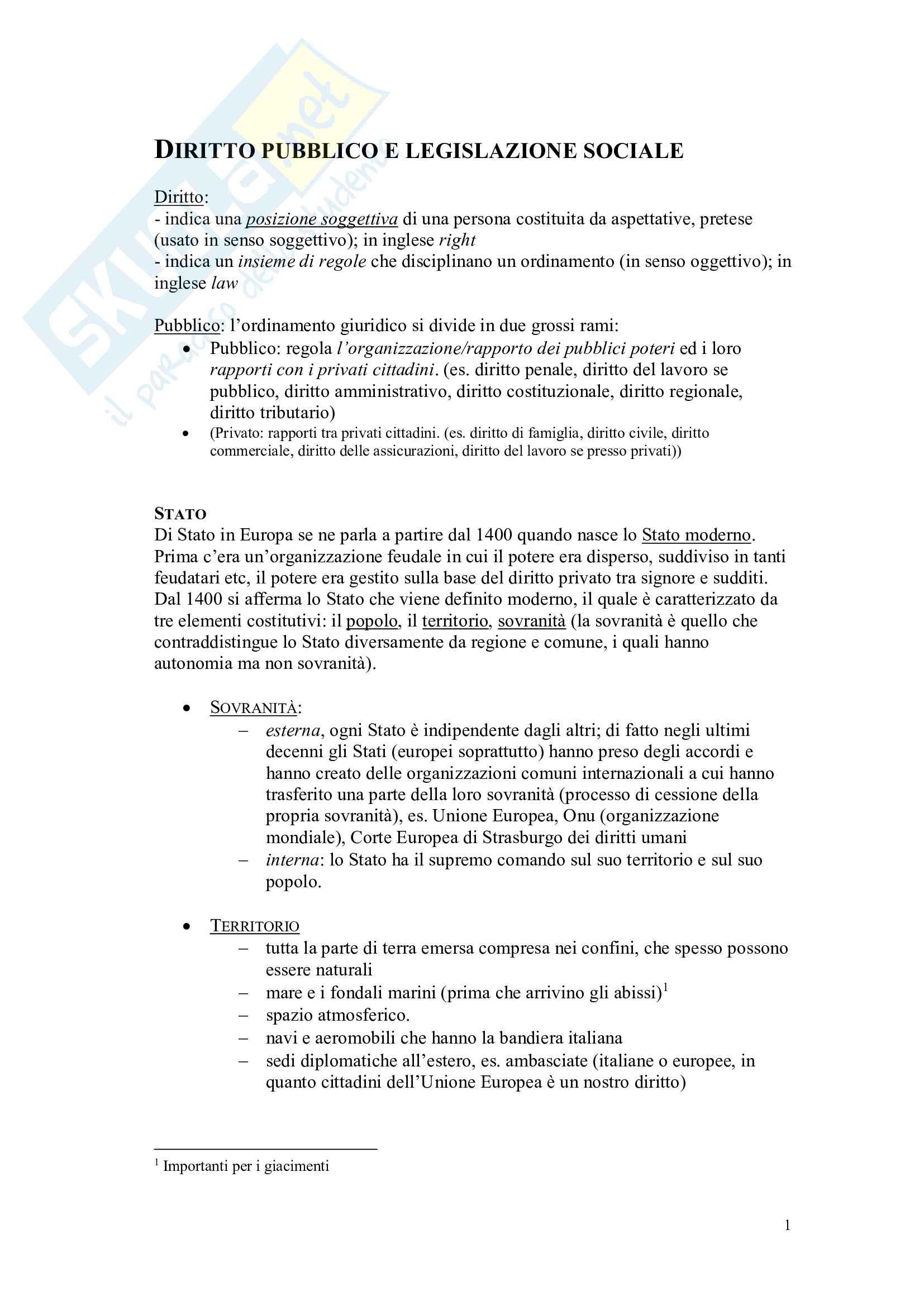 Diritto pubblico e legislazione sociale