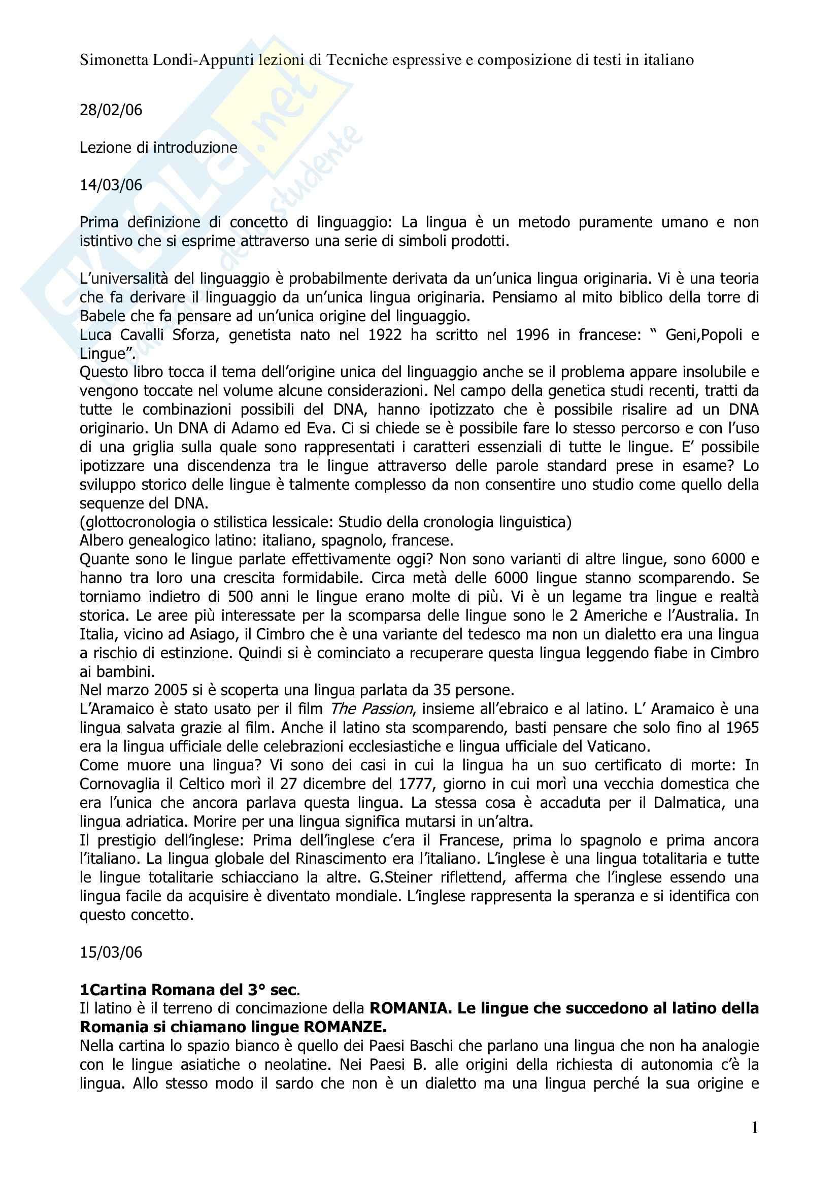 Tecniche espressive - sunto, prof. Bonvecchio