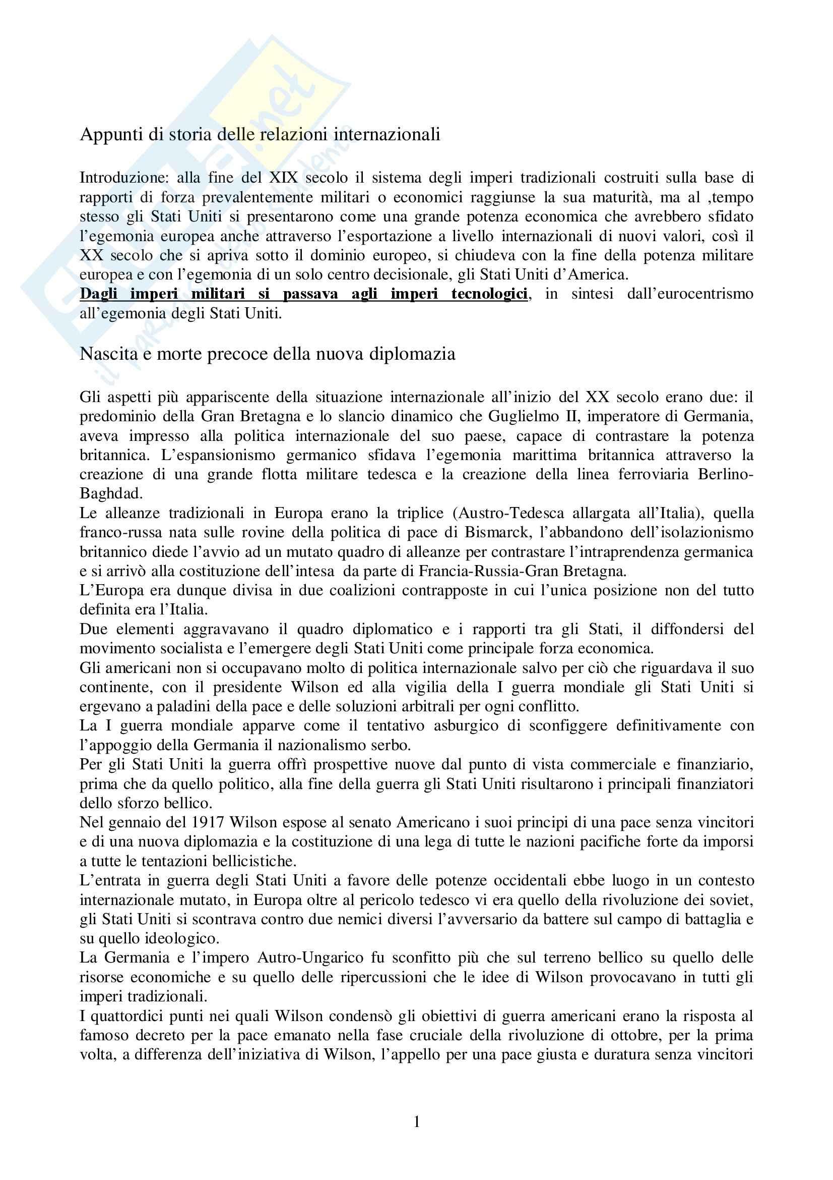 Riassunto esame Storia delle Relazioni Internazionali, prof. indefinito, libro consigliato Storia delle Relazioni Internazionali, Di Nolfo