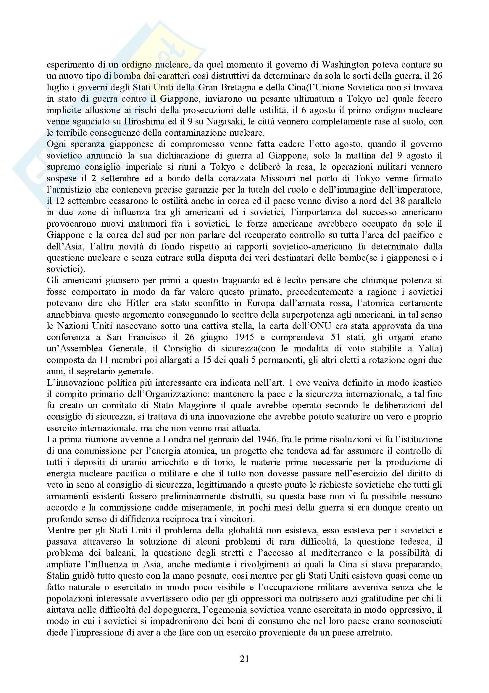 Riassunto esame Storia delle Relazioni Internazionali, prof. indefinito, libro consigliato Storia delle Relazioni Internazionali, Di Nolfo Pag. 21
