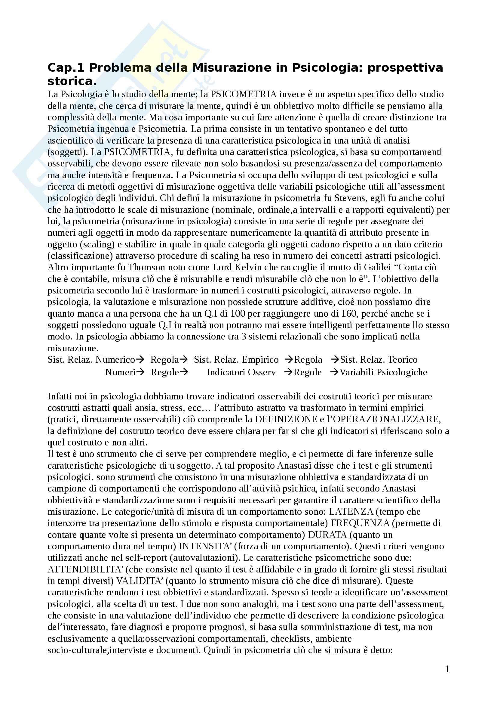 Riassunto esame Psicometria, prof. Costa, libro consigliato Fondamenti di Psicometria, Chiorri