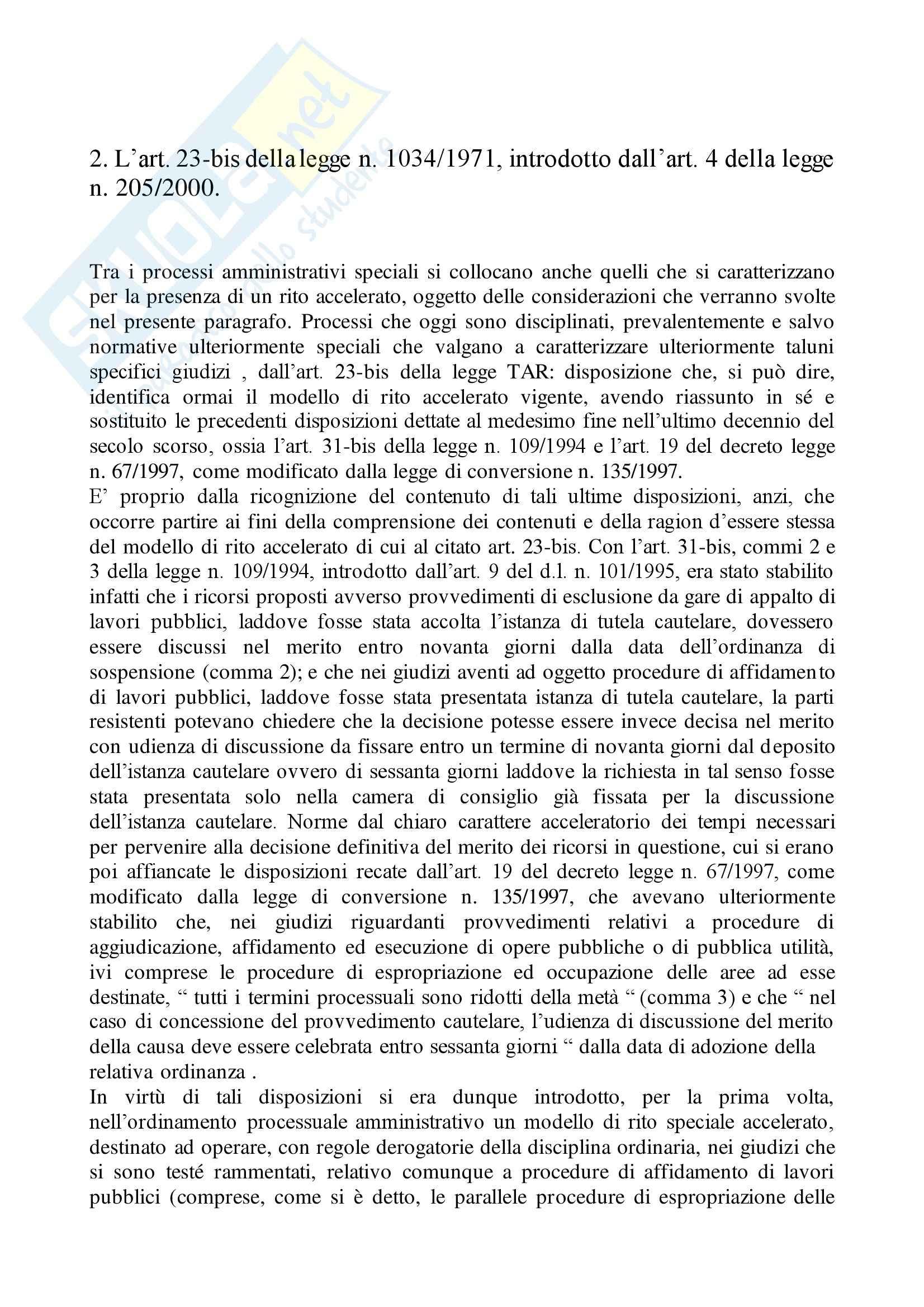 Diritto amministrativo - Articolo 23 bis legge 1034/1971