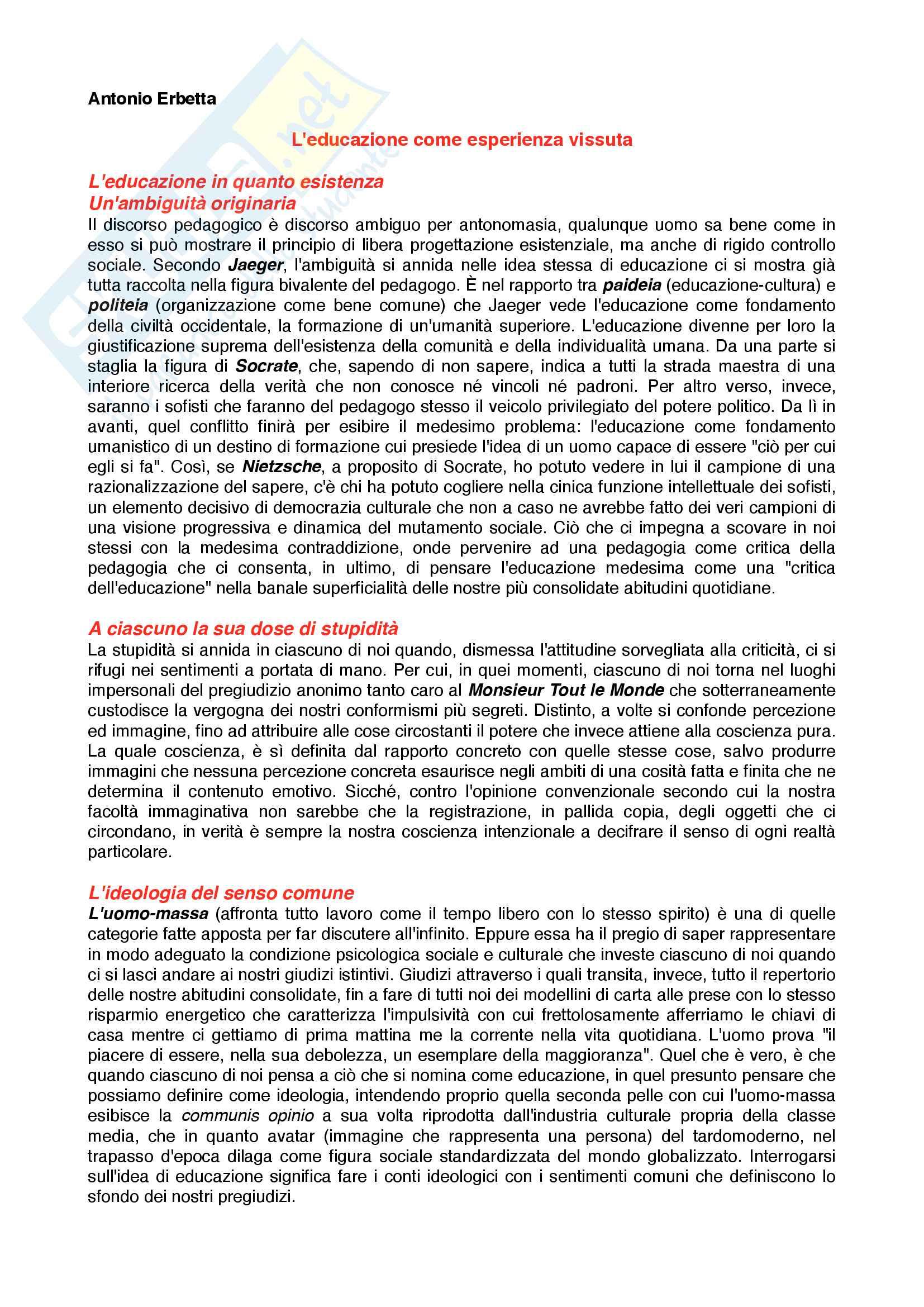 Riassunto esame Pedagogia generale, prof. Madrussan, libro consigliato L'educazione come esperienza vissuta