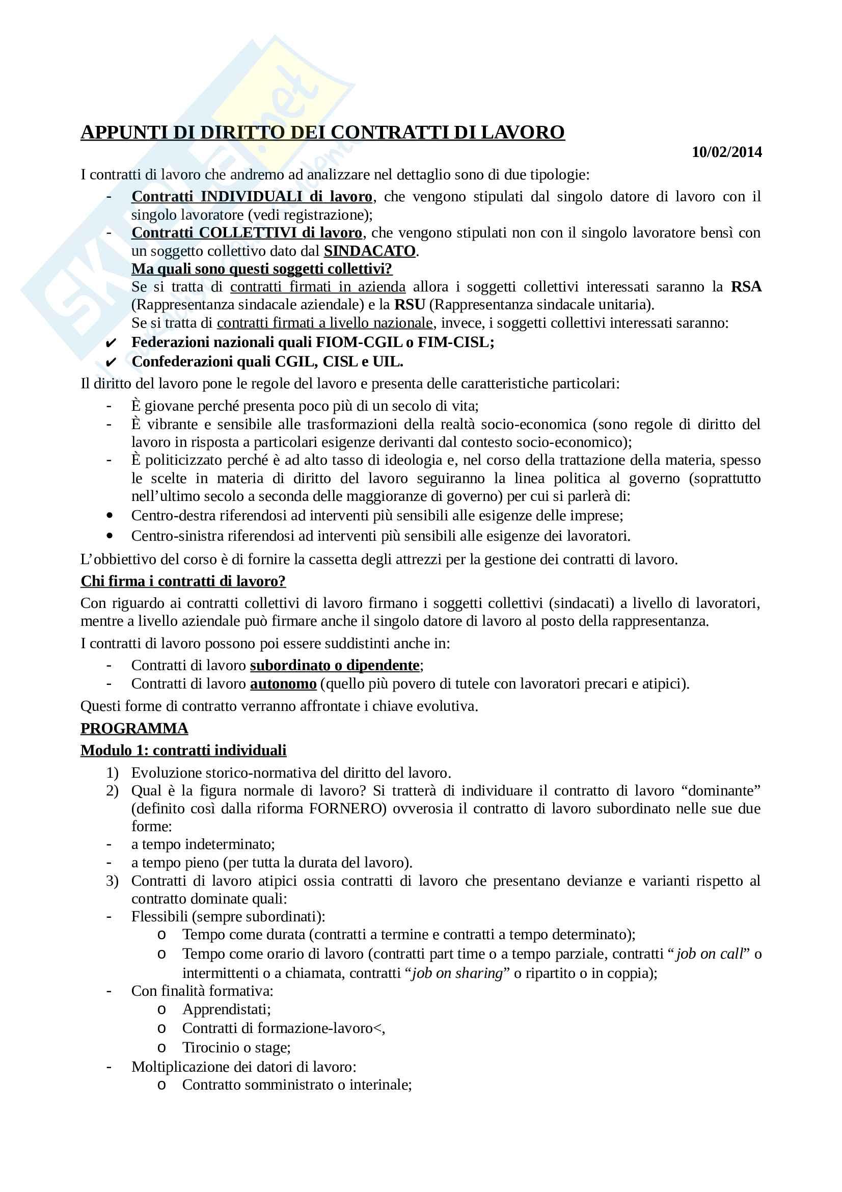 Diritto dei contratti da lavoro - Appunti