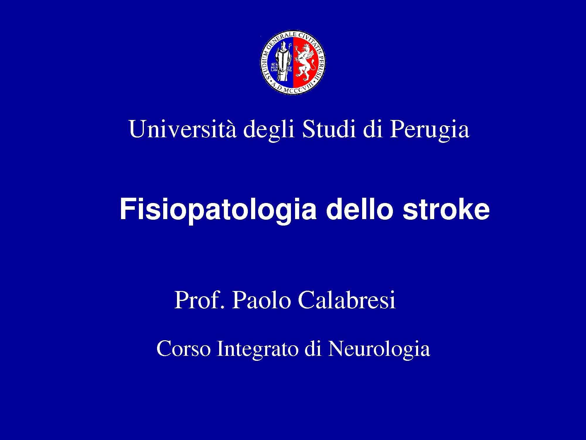 Fisiopatologia dello stroke
