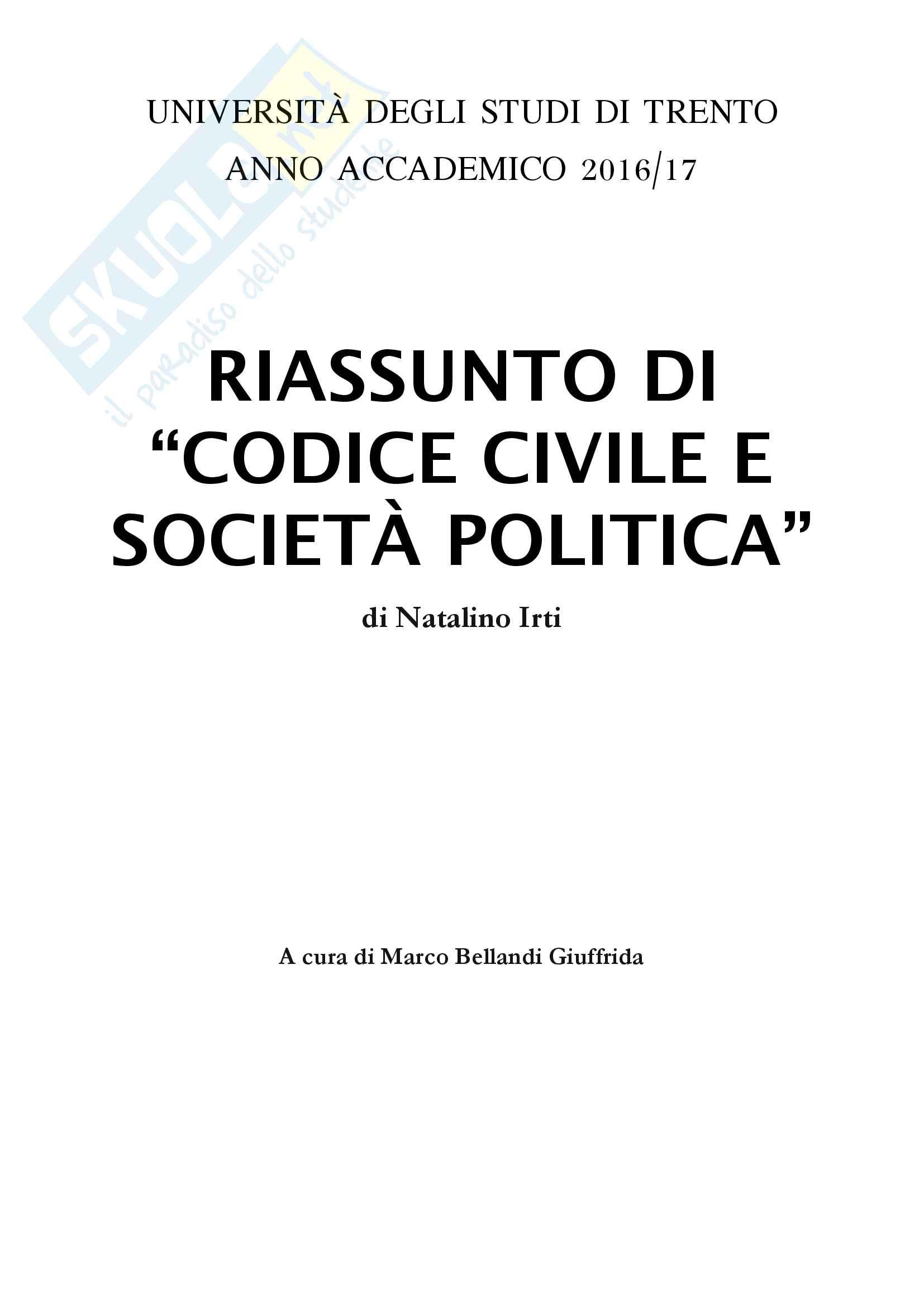 Riassunto per l'esame di Istituzioni di diritto privato I, prof.ssa Teresa Pasquino, libro consigliato Codice civile e società politica, Natalino Irti