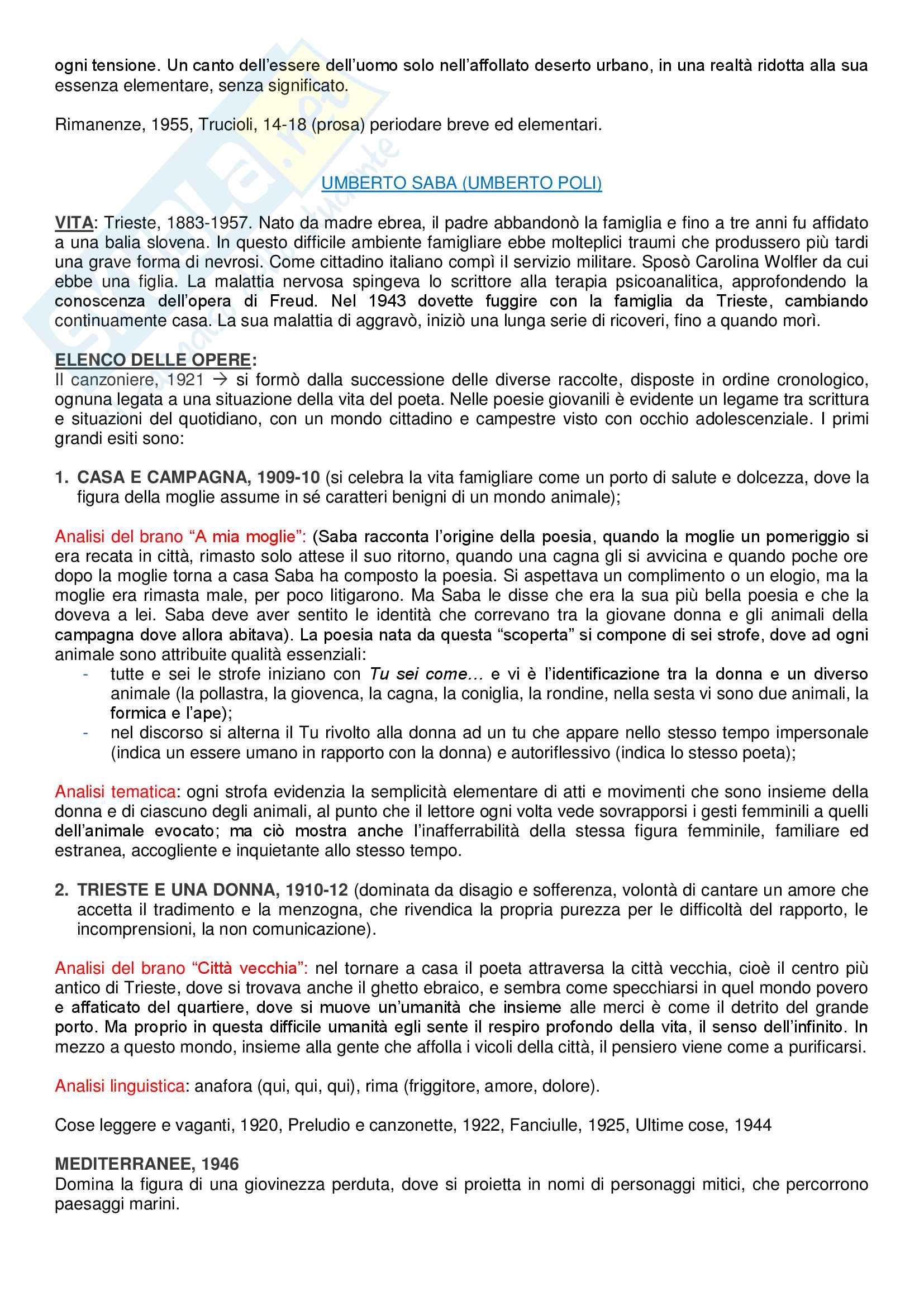Riassunto esame Lingua e Letteratura Italiana, prof. Zangrandi, libro consigliato Storia della letteratura italiana (1910-1945), Giulio Ferroni Pag. 11