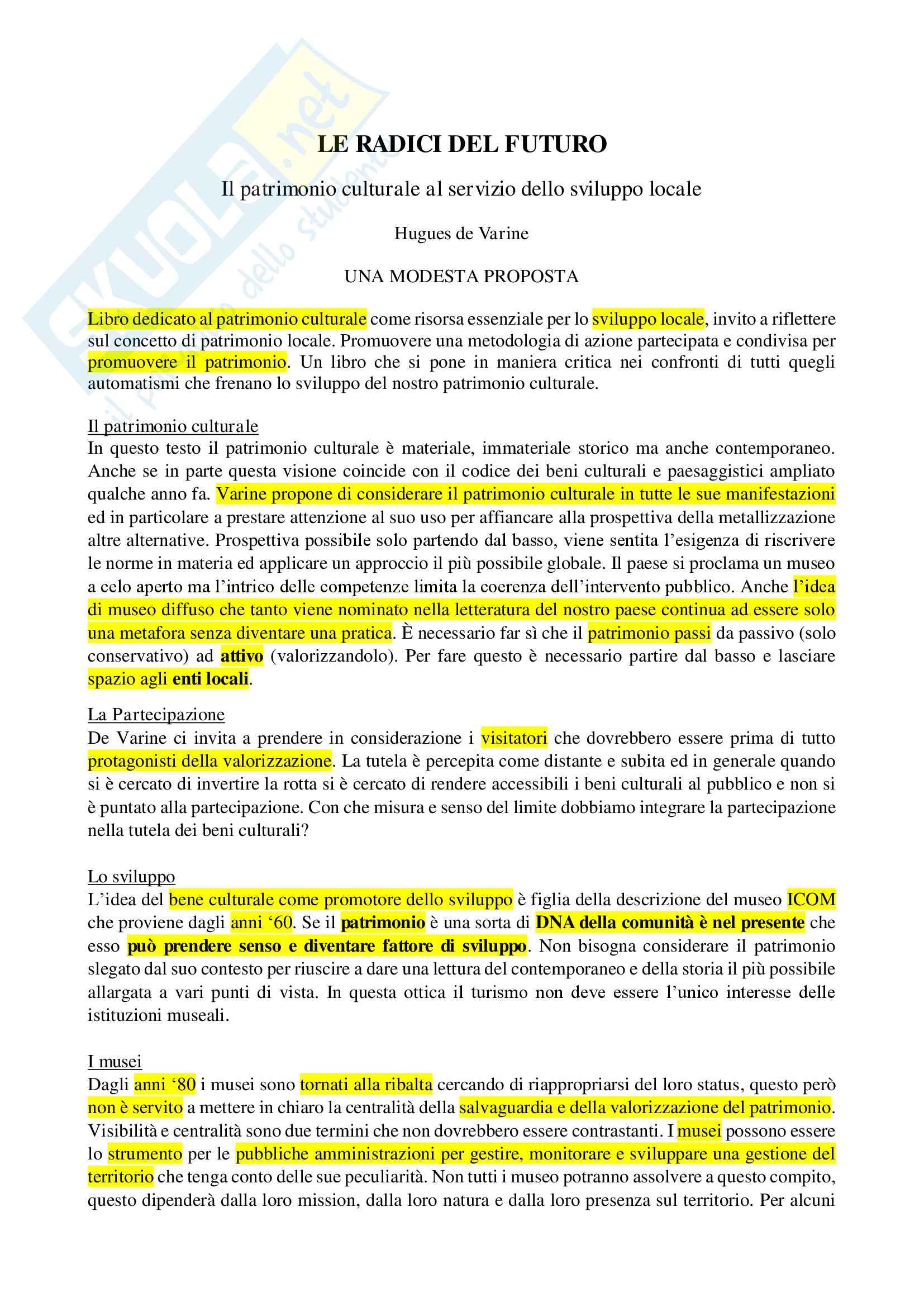"""Riassunto esame Museologia del contemporaneo, prof. Battistini, libro consigliato """"Le radici del futuro"""", Hugues de Varine"""