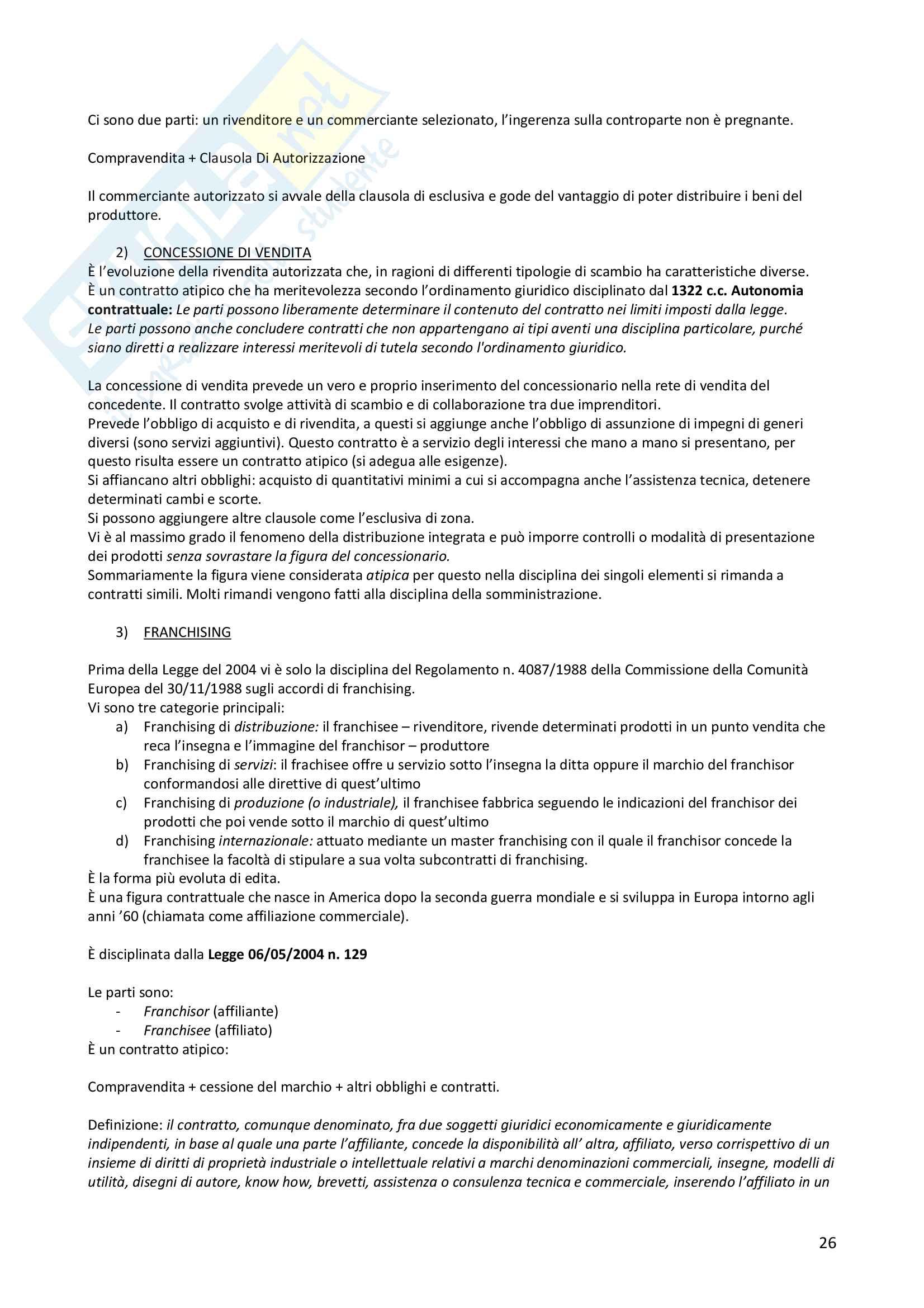 """Appunti di Diritto dei contratti d'impresa, Libro Consigliato """"Estratto del Manuale di Diritto Commerciale"""" - Buonocore Pag. 26"""