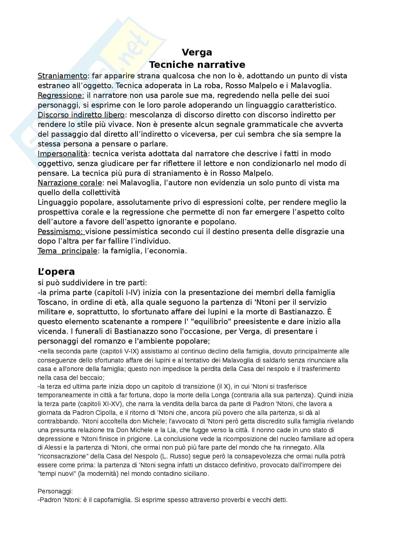 Letteratura italiana moderna e contemporanea - tecniche narrative verga