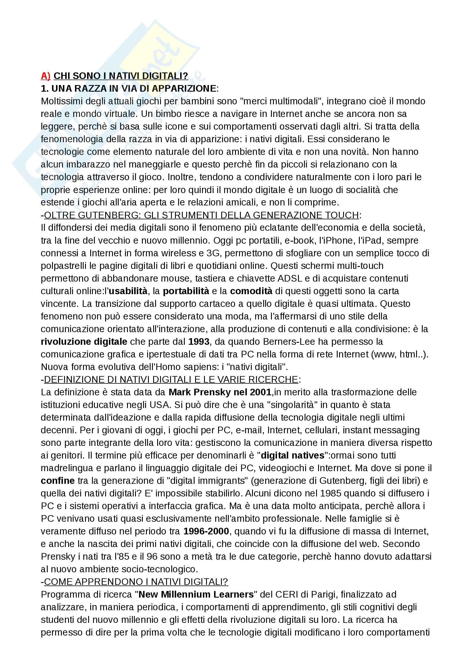 Riassunto esame Teoria e tecnica dei nuovi media, prof. Ferri, libro consigliato I nativi digitali, Ferri