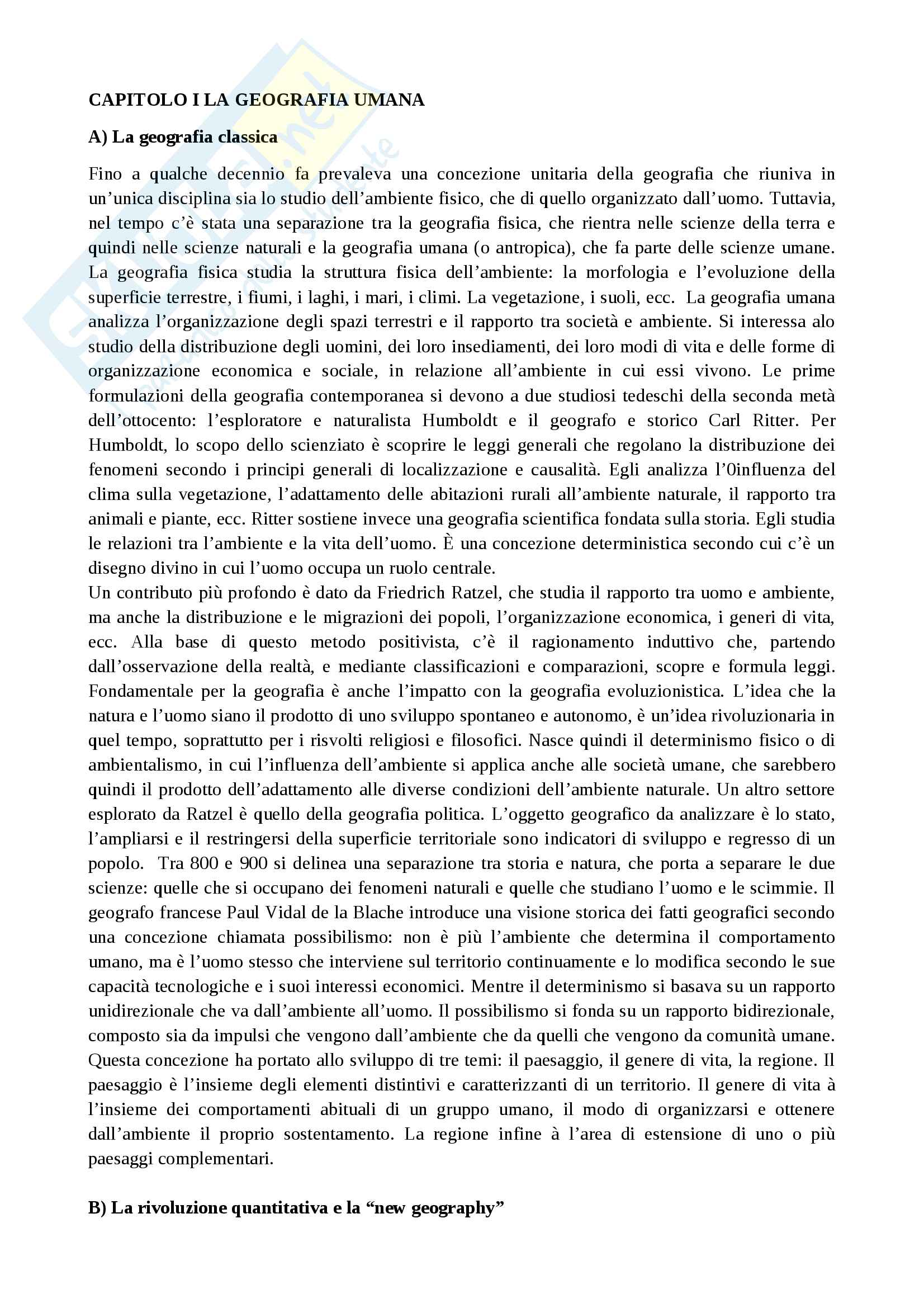 Riassunto esame Geografia umana, prof. Maury, libro consigliato Compendio di geografia umana, Dagradi-Cencini