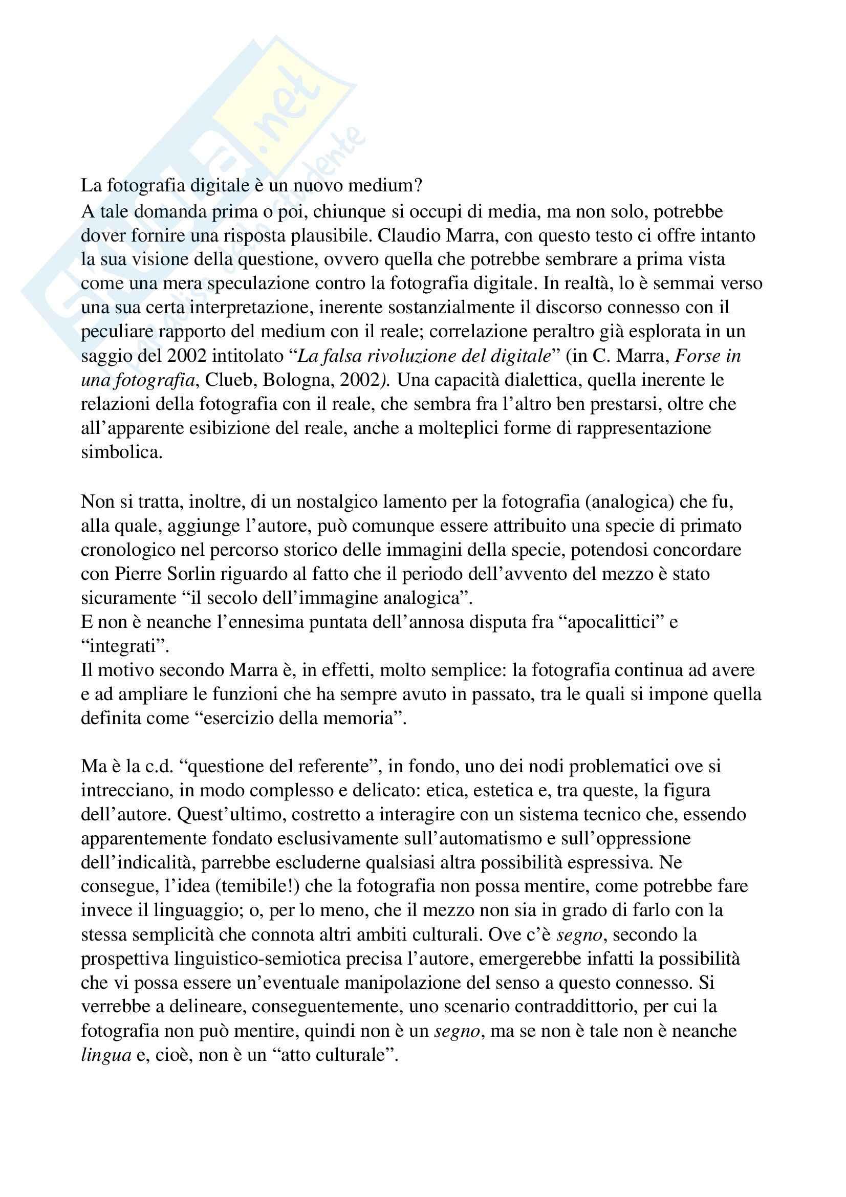 Riassunto esame Storia della fotografia, prof. Maggi, libro consigliato L'immagine infedele, Marra