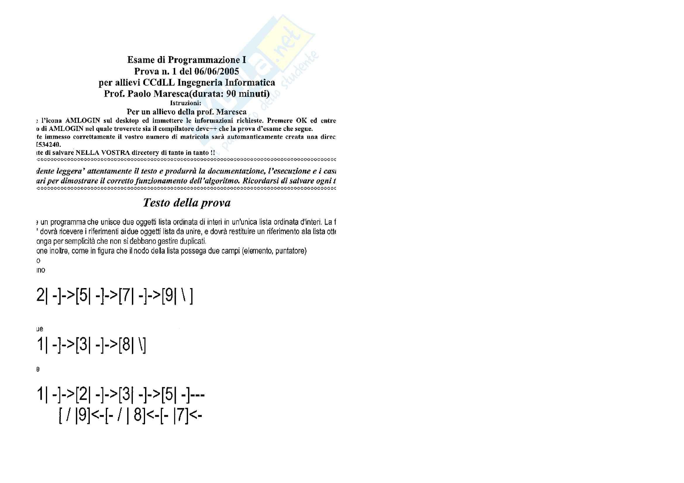 Programmazione I - Esercizio