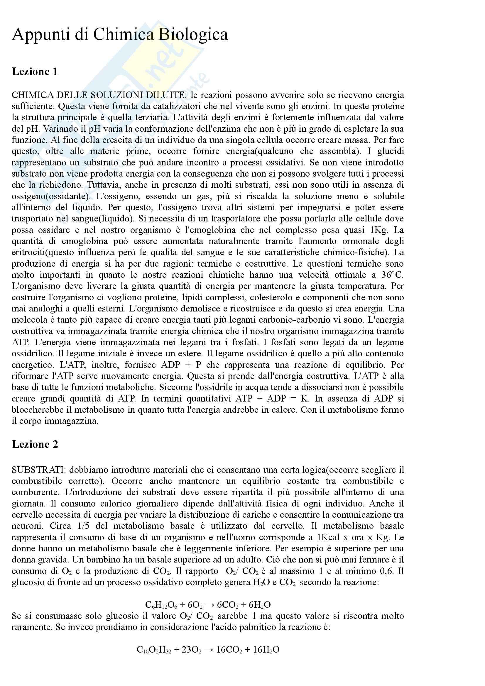 Chimica biologica - Appunti