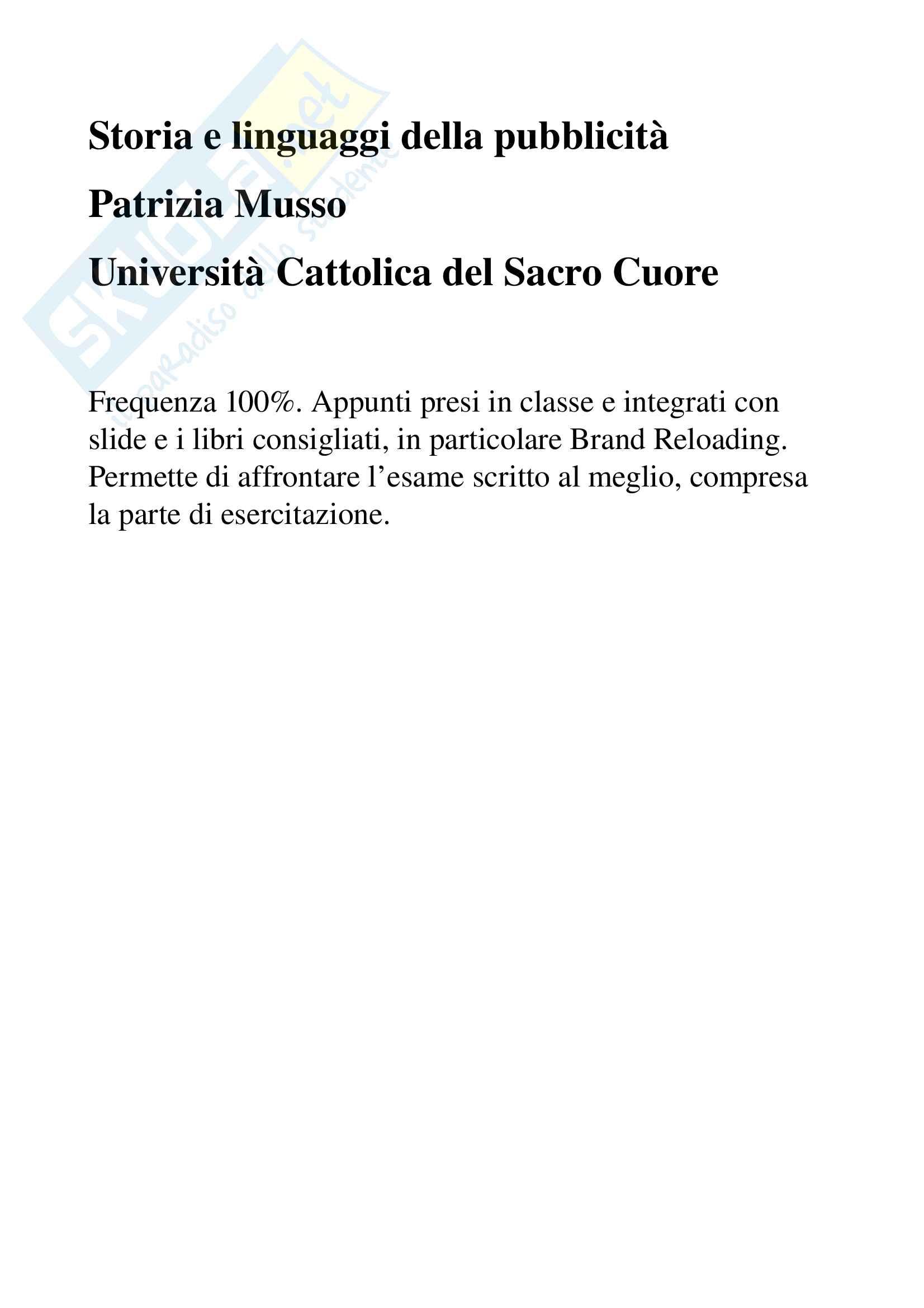 Appunti per esame di storia e linguaggi della pubblicità, prof. Musso, libro consigliato 'Brand Reloading - Patrizia Musso'
