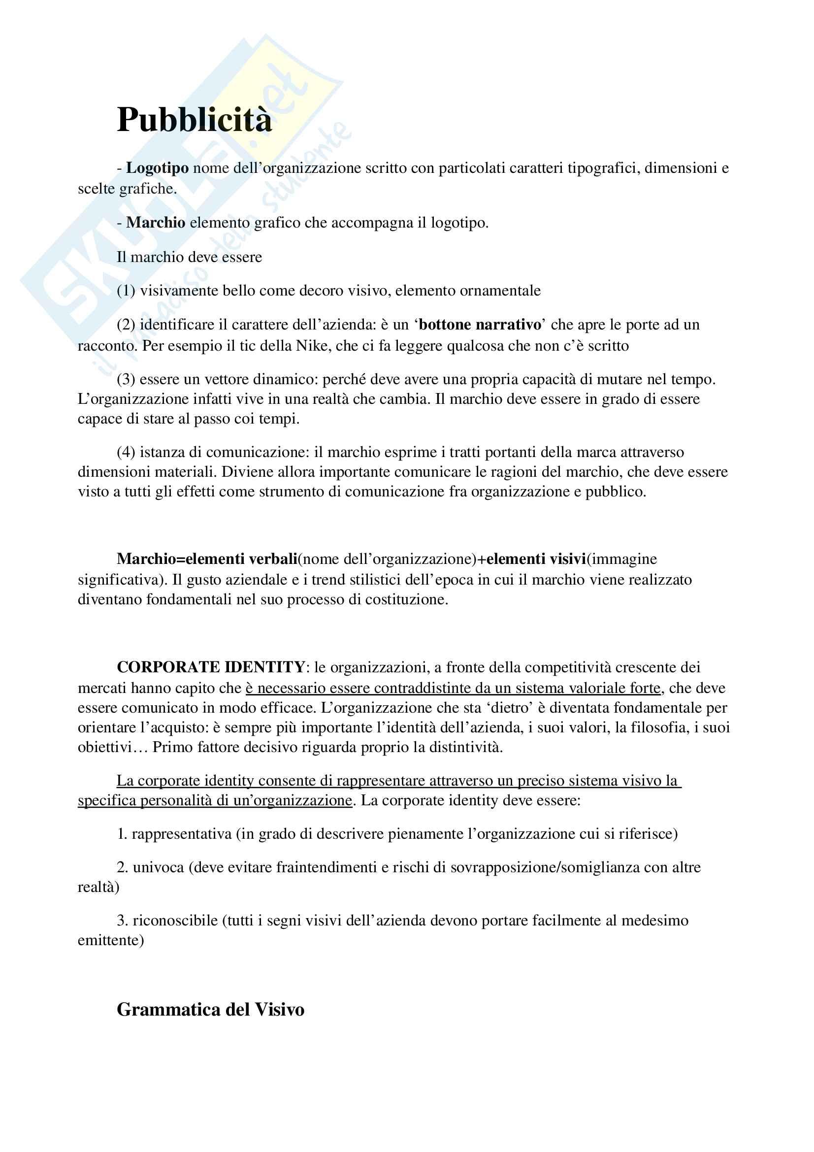 Appunti per esame di storia e linguaggi della pubblicità, prof. Musso, libro consigliato 'Brand Reloading - Patrizia Musso' Pag. 2