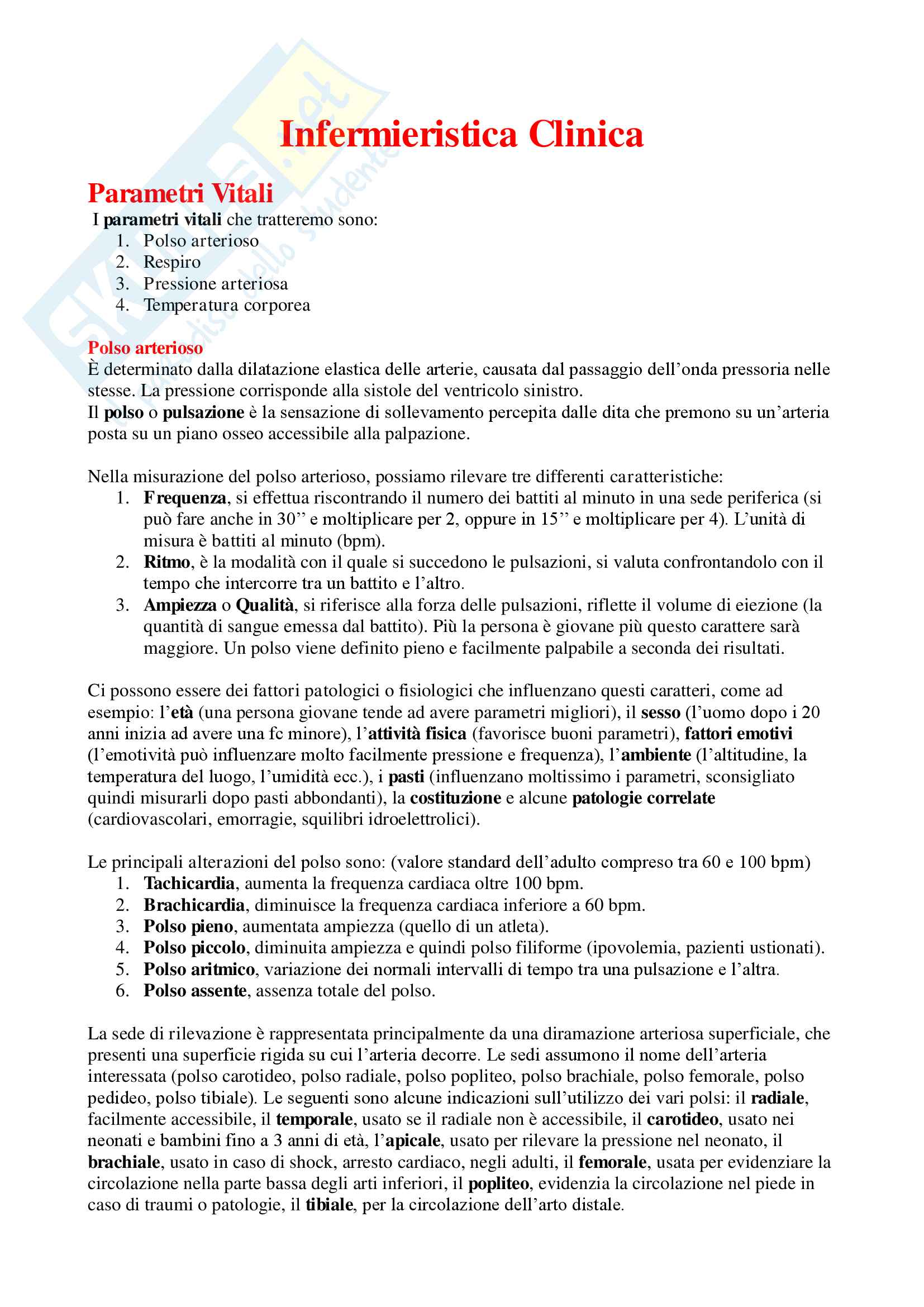 Infermieristica Clinica - Appunti Completi