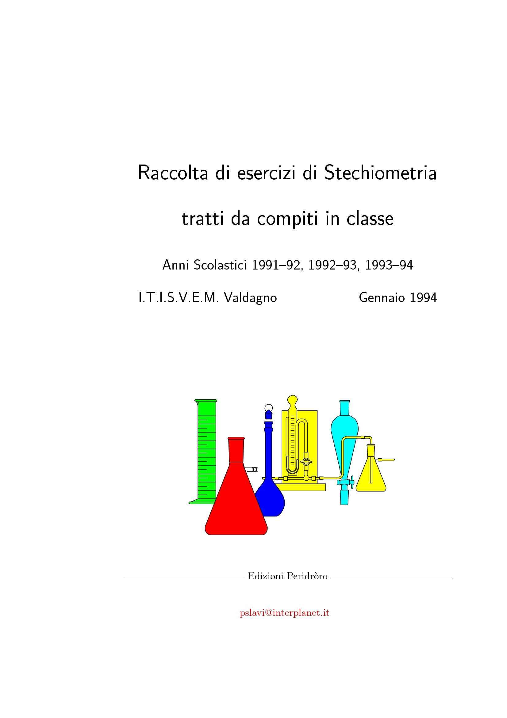 Stechiometria, calcolo Ph, soluzioni tampone