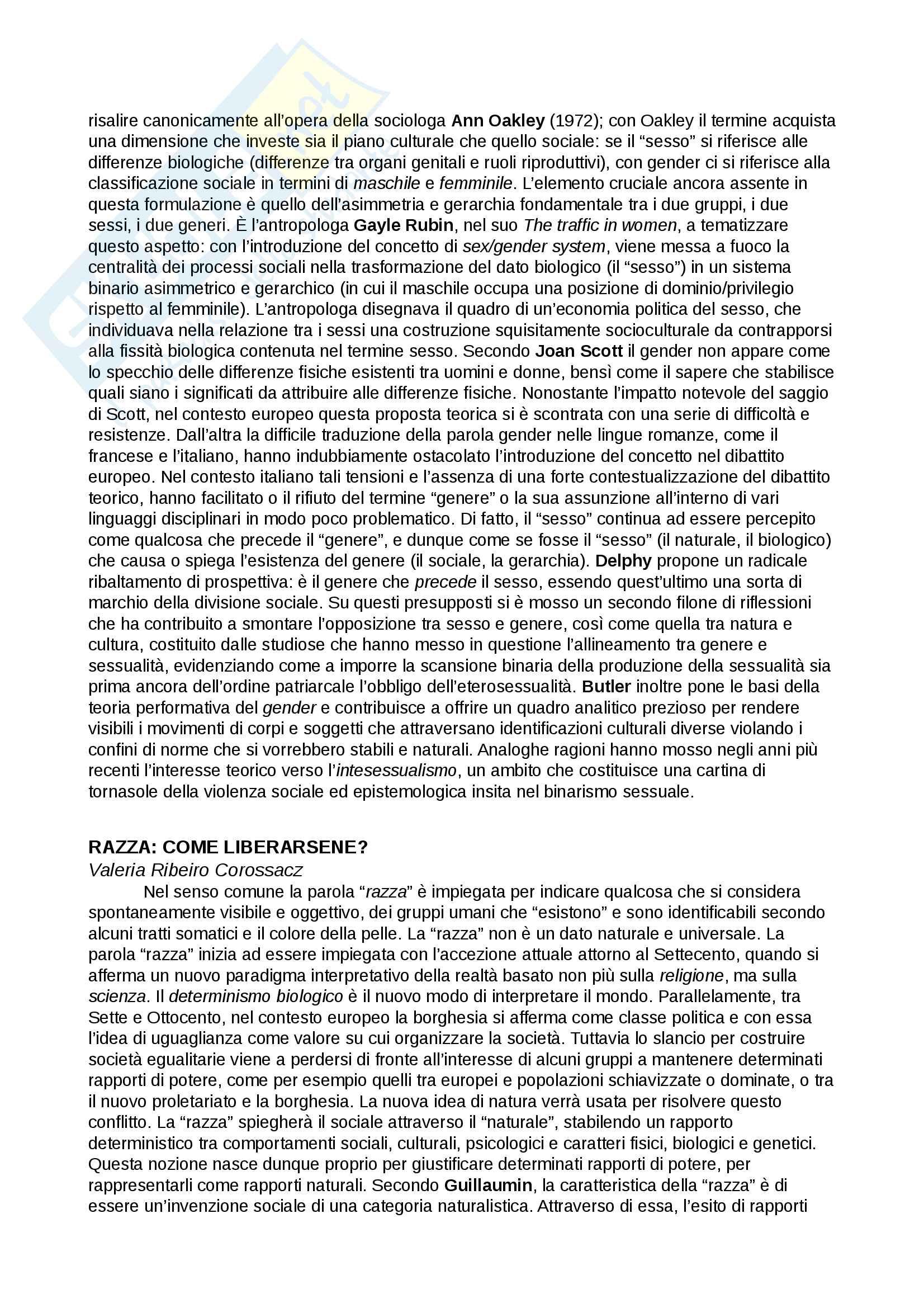 Riassunto esame Studi di genere, Prof. Romeo, libro consigliato dispensa del corso Genere, razza e sessualità nello spazio pubblico, AA.VV. Pag. 6