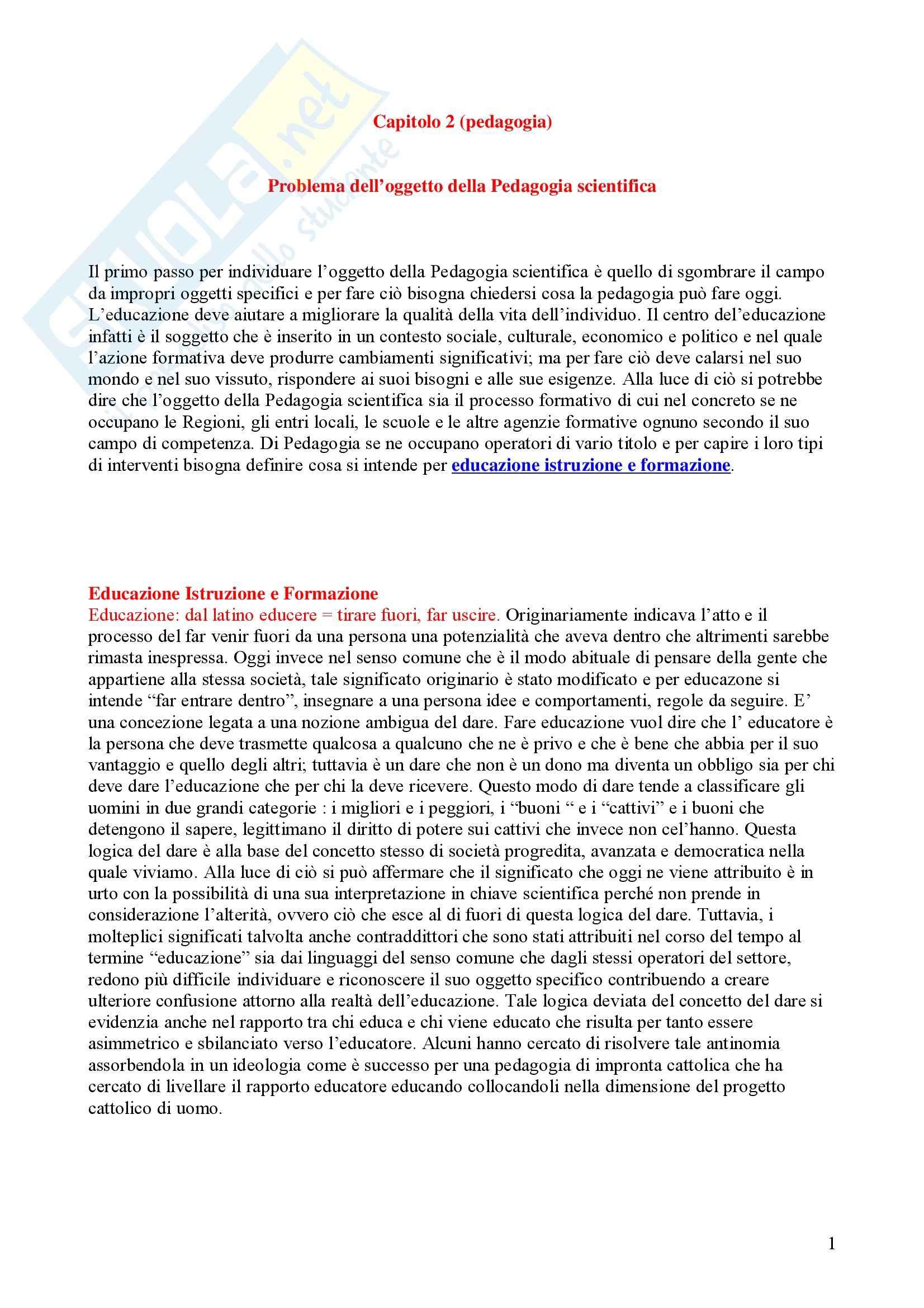 appunto P. Orefice Pedagogia Generale