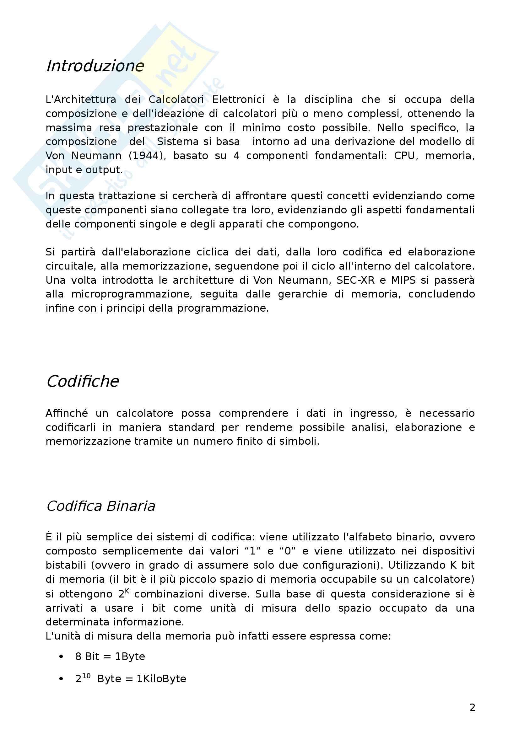 Appunti Architettura dei Calcolatori Elettronici Pag. 2