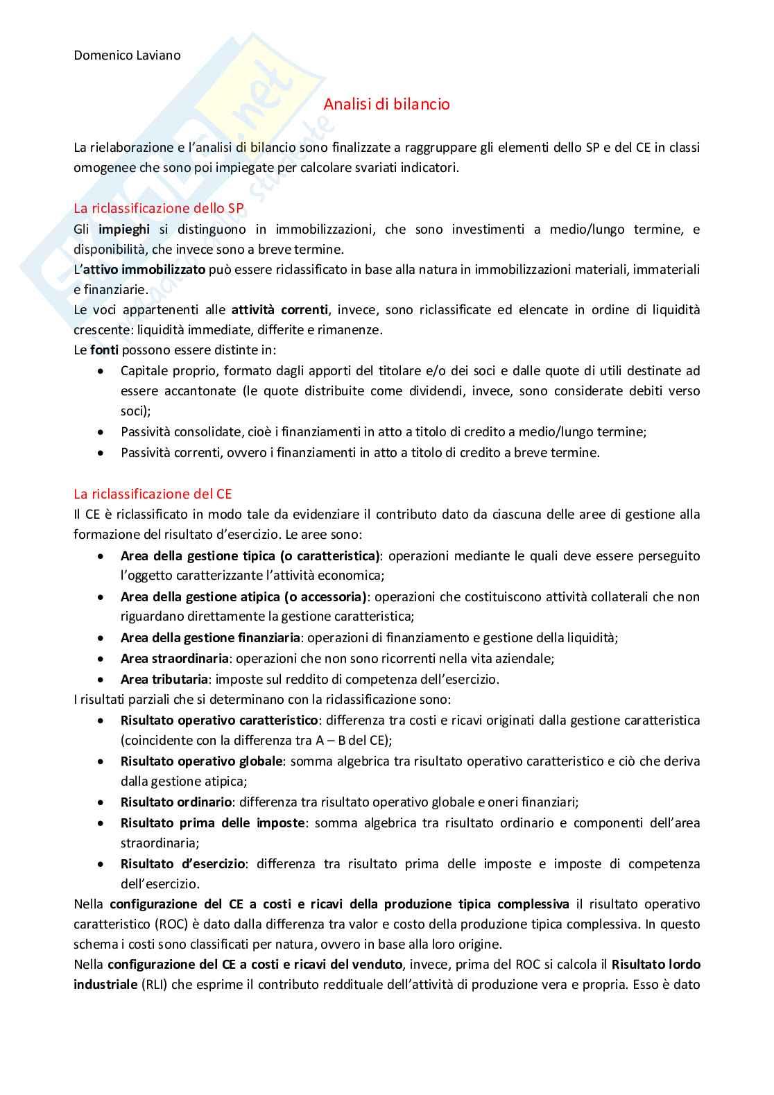 Appunti di Economia Aziendale II (analisi di bilancio)