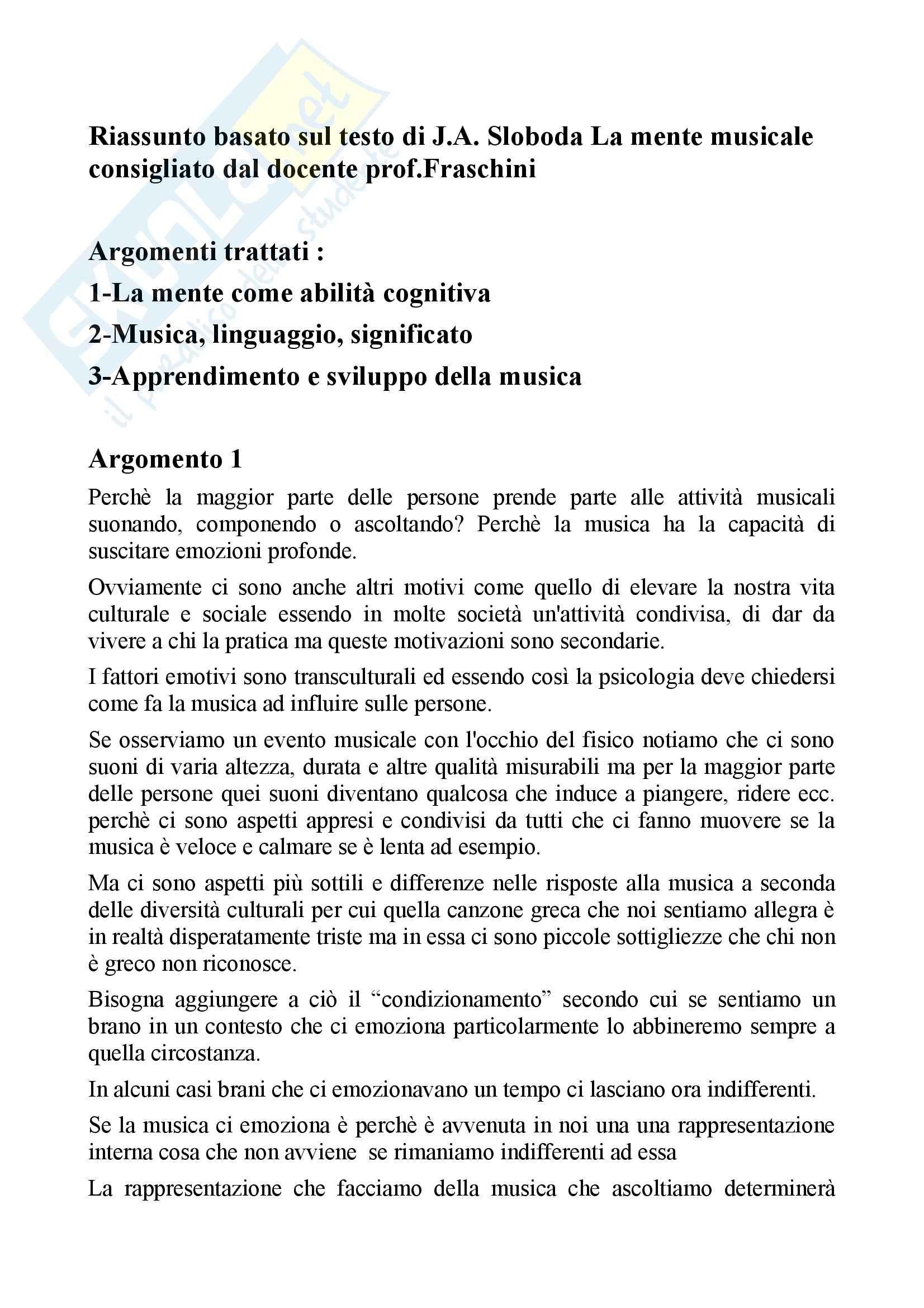 Riassunto esame per esame pedagogia musicale, docente Fraschini, libro consigliato La mente musicale di Sloboda