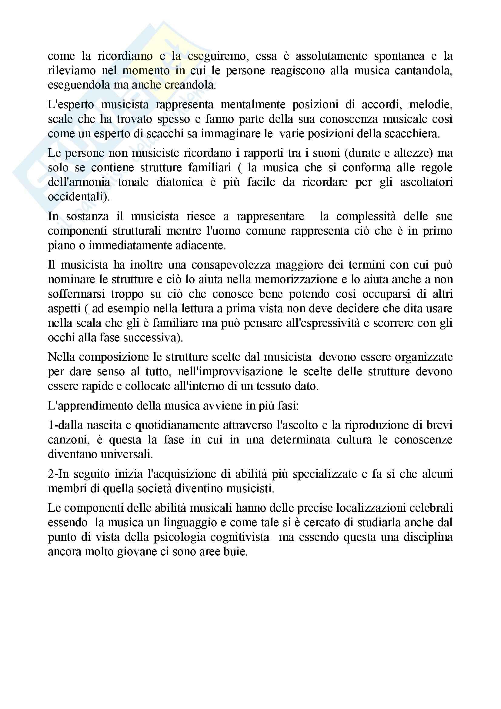 Riassunto esame per esame pedagogia musicale, docente Fraschini, libro consigliato La mente musicale di Sloboda Pag. 2