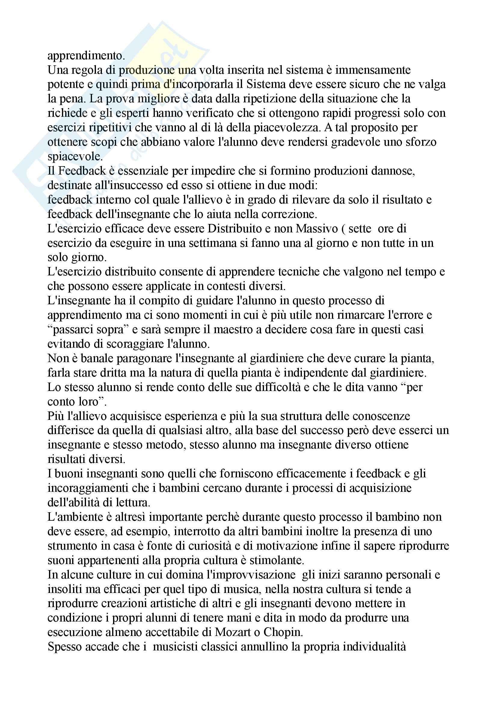 Riassunto esame per esame pedagogia musicale, docente Fraschini, libro consigliato La mente musicale di Sloboda Pag. 6
