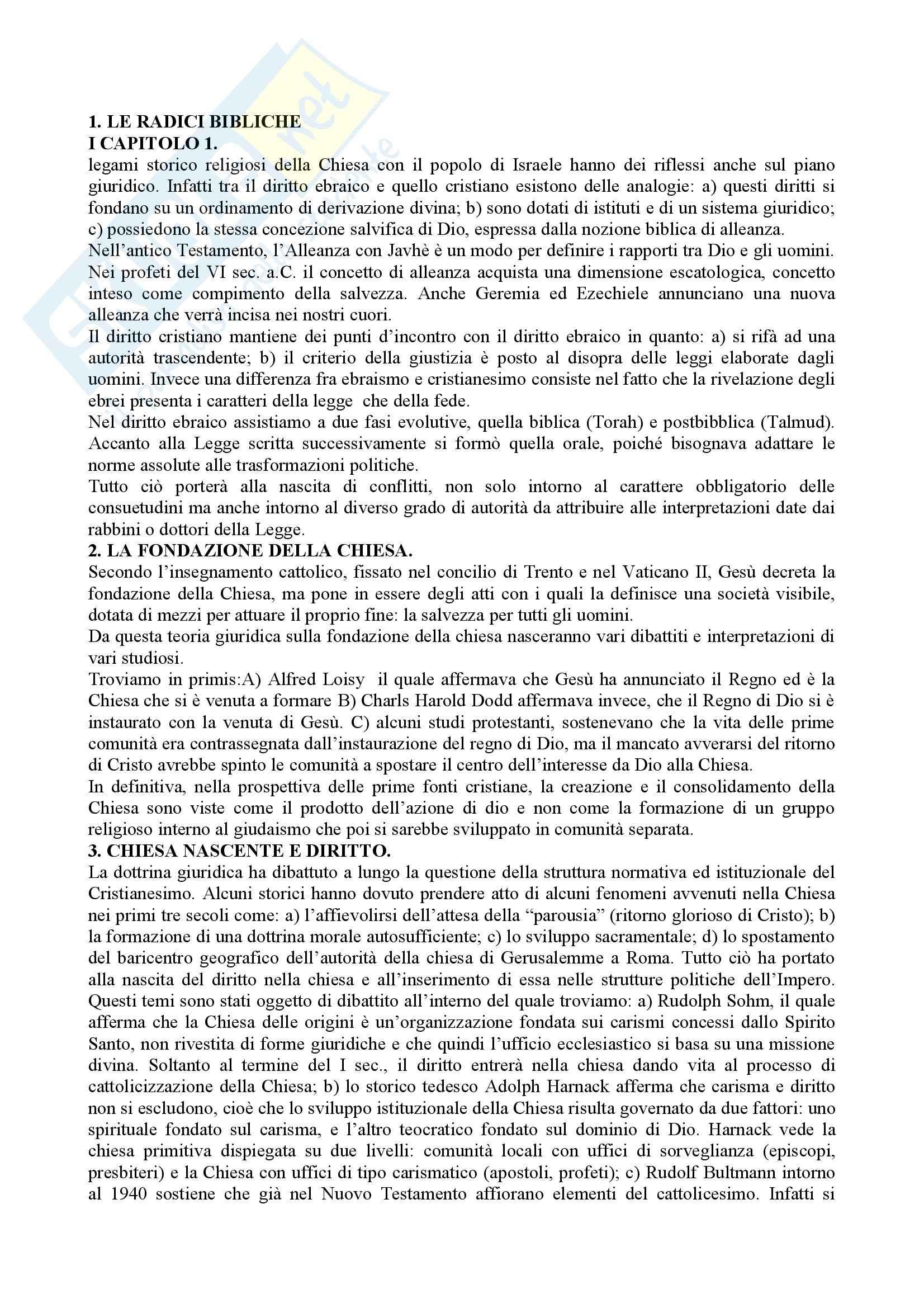 Diritto canonico - Riassunto esame, prof. Gherro
