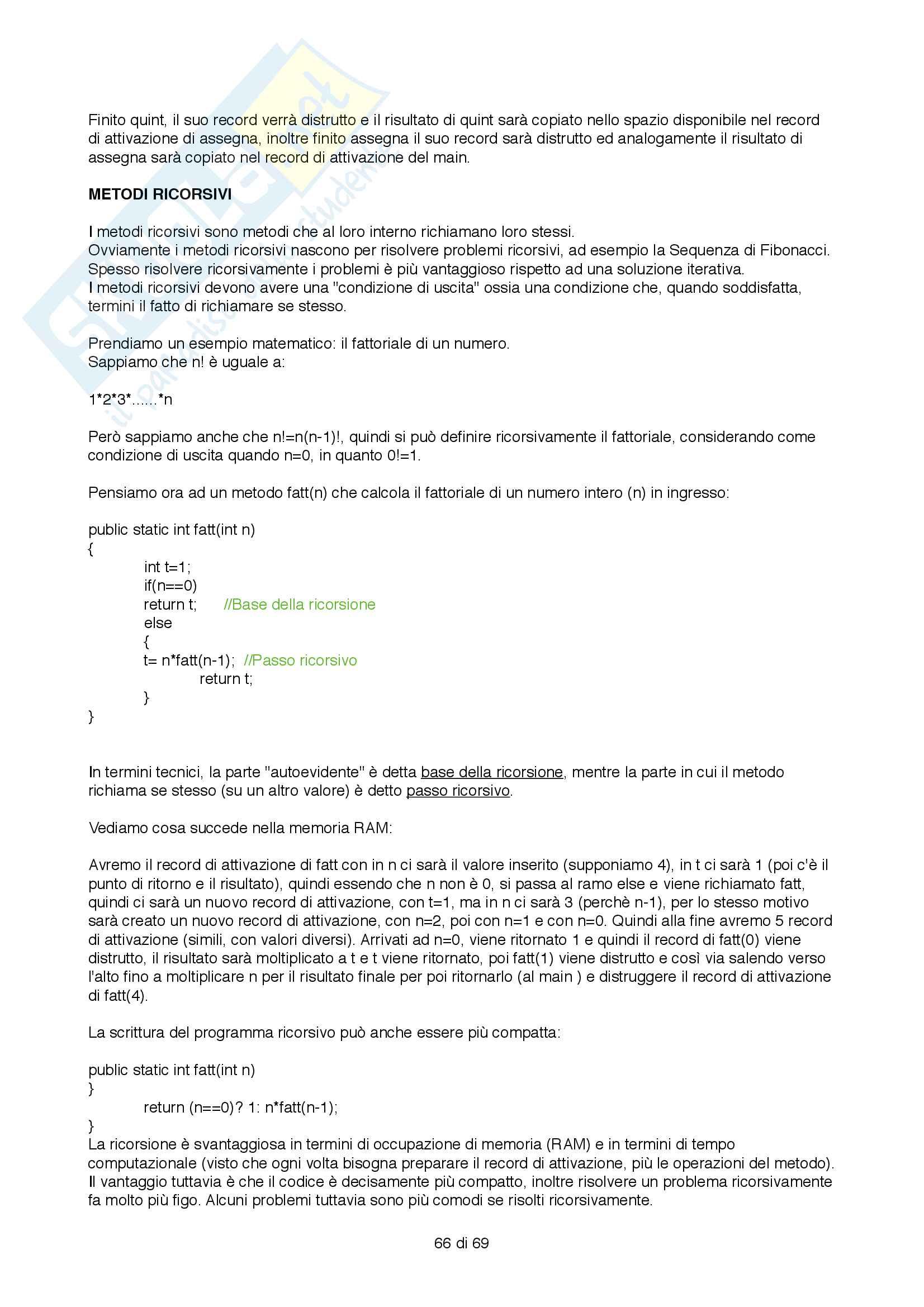 Programmazione JAVA Pag. 66
