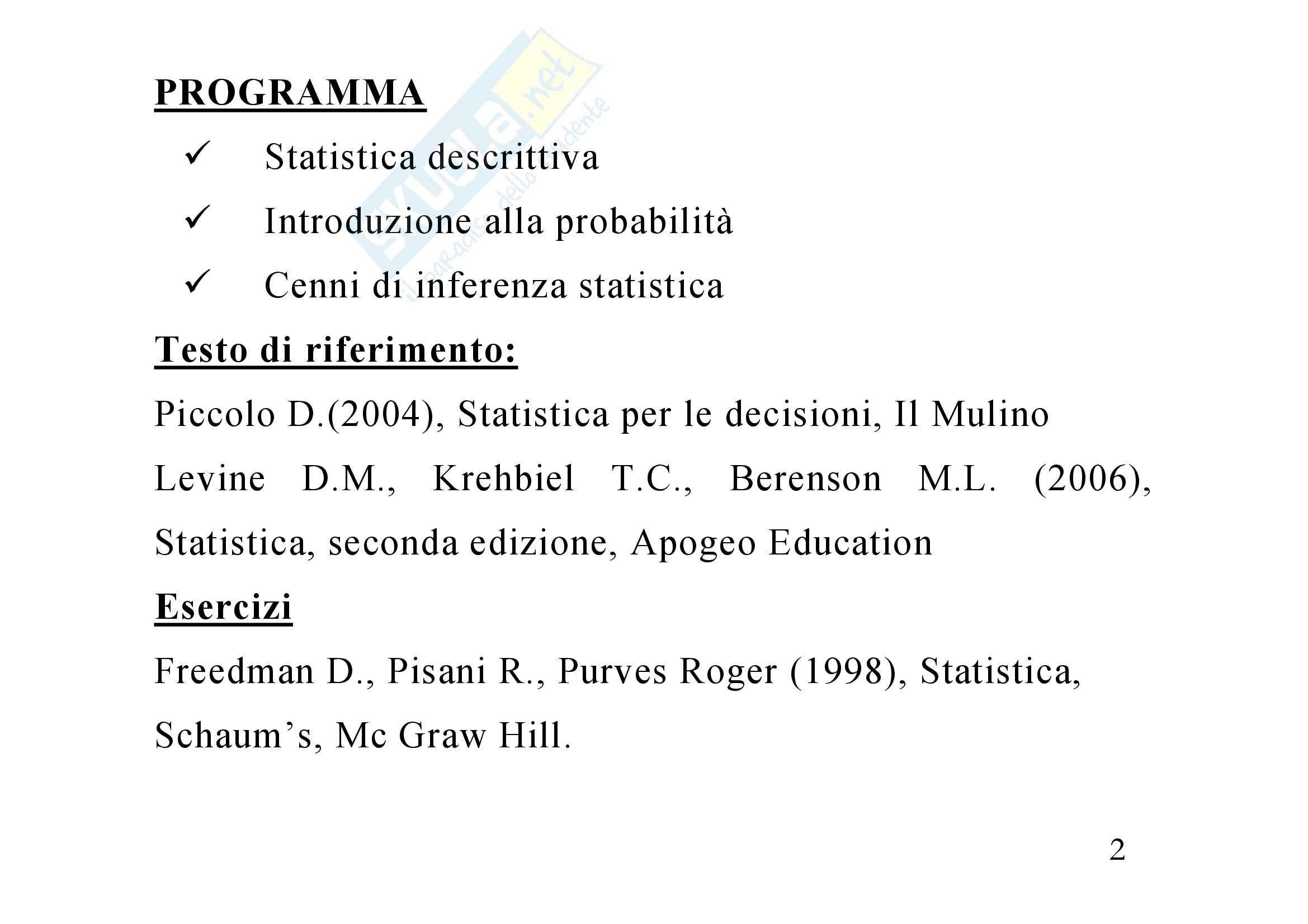 Statistica economica – Dispensa Pag. 2