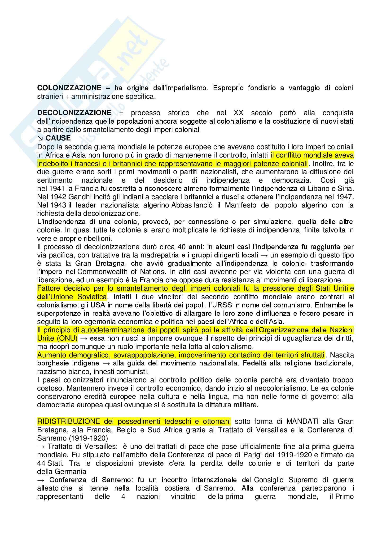 Riassunto esame Storia contemporanea, prof. Bevilacqua, libro consigliato Storia della decolonizzazione nel XX secolo, Droz